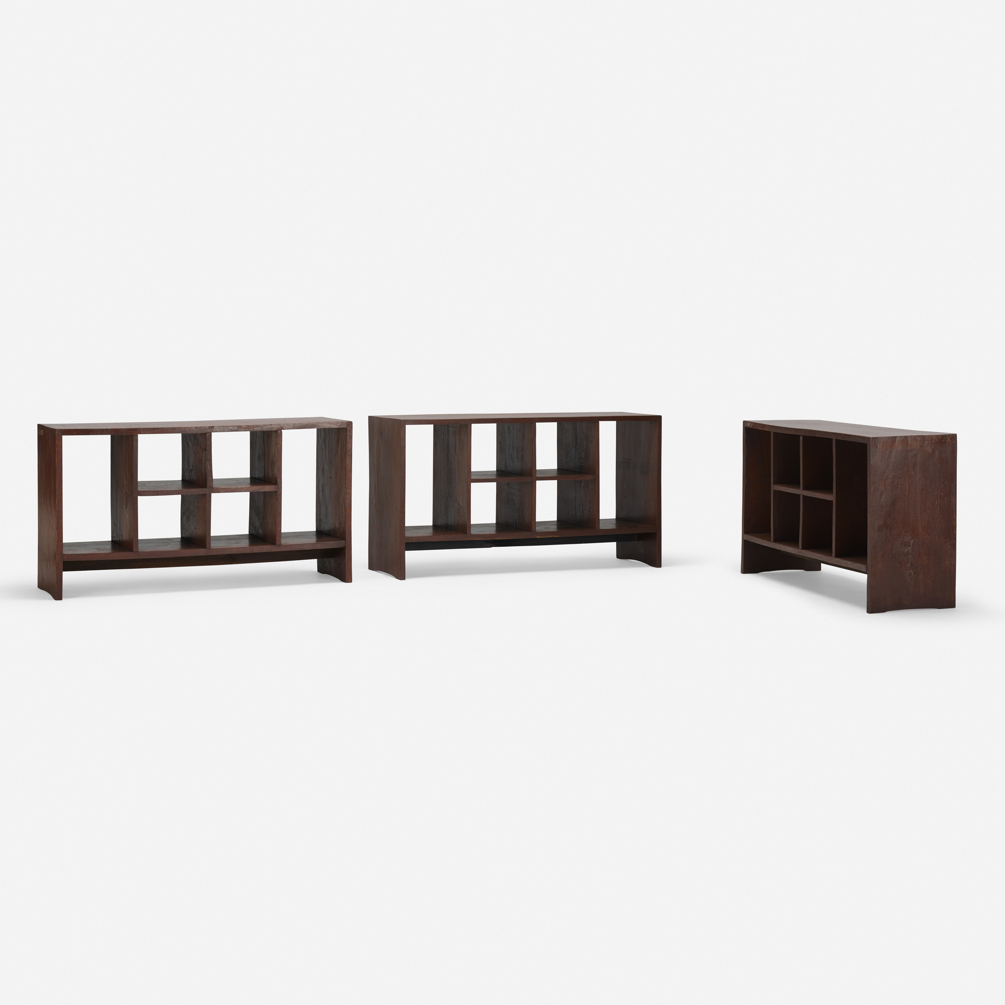 235: PIERRE JEANNERET, set of three file racks from the