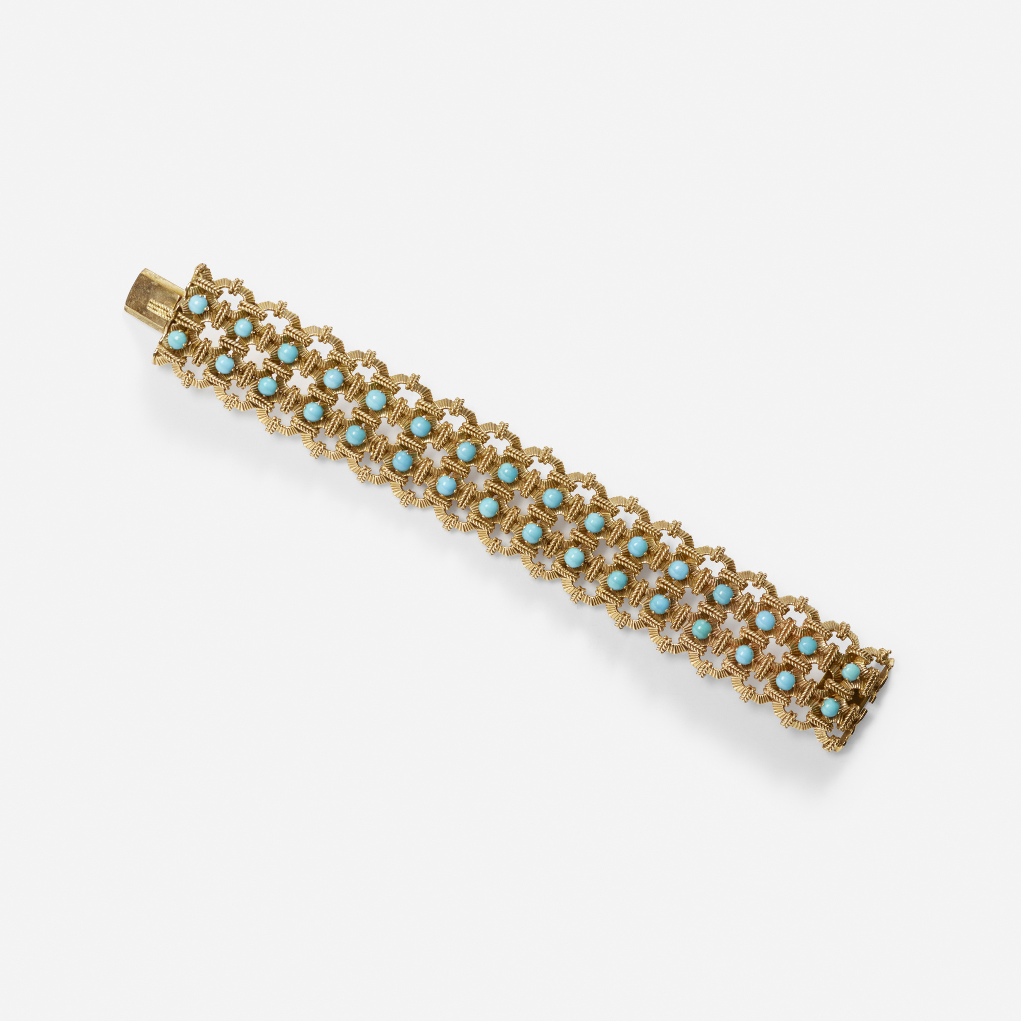 235:  / A gold and turquoise bracelet (1 of 1)