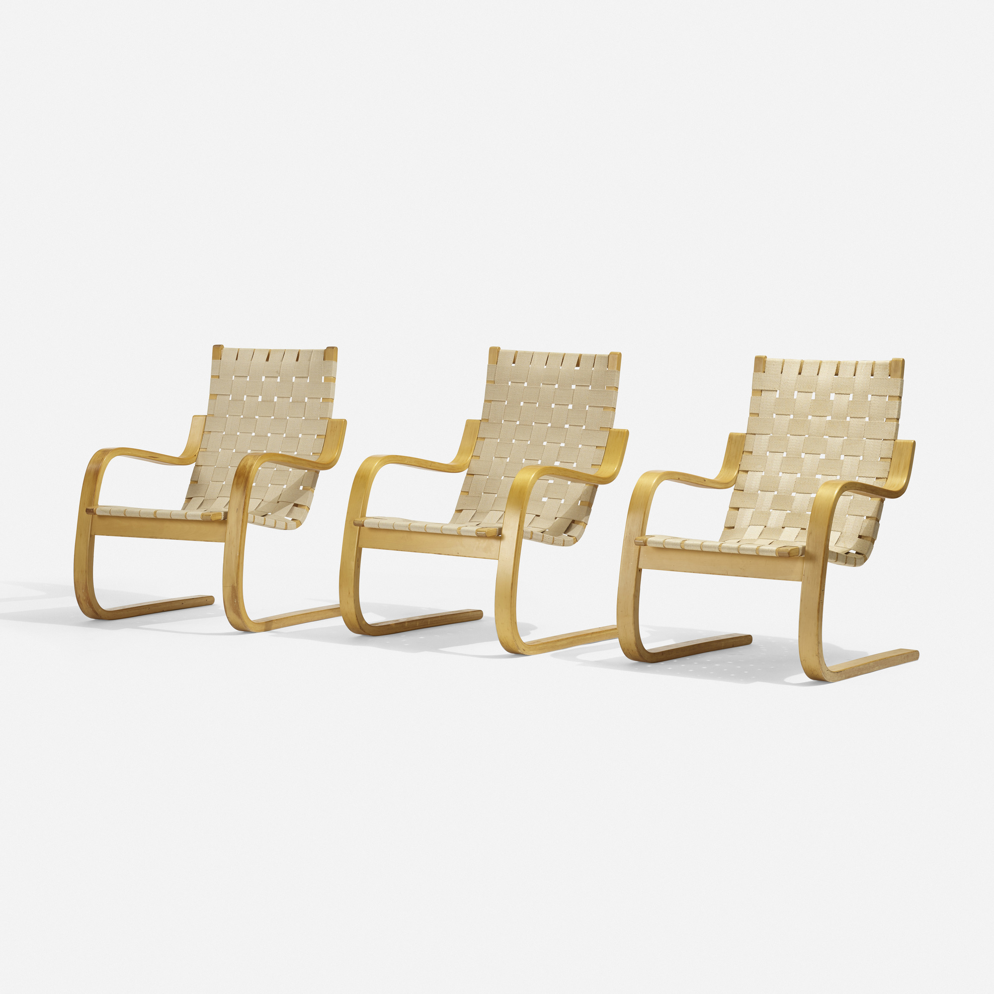 237: Alvar Aalto / Cantilevered Chairs Model 406, Set Of Three (1 Of