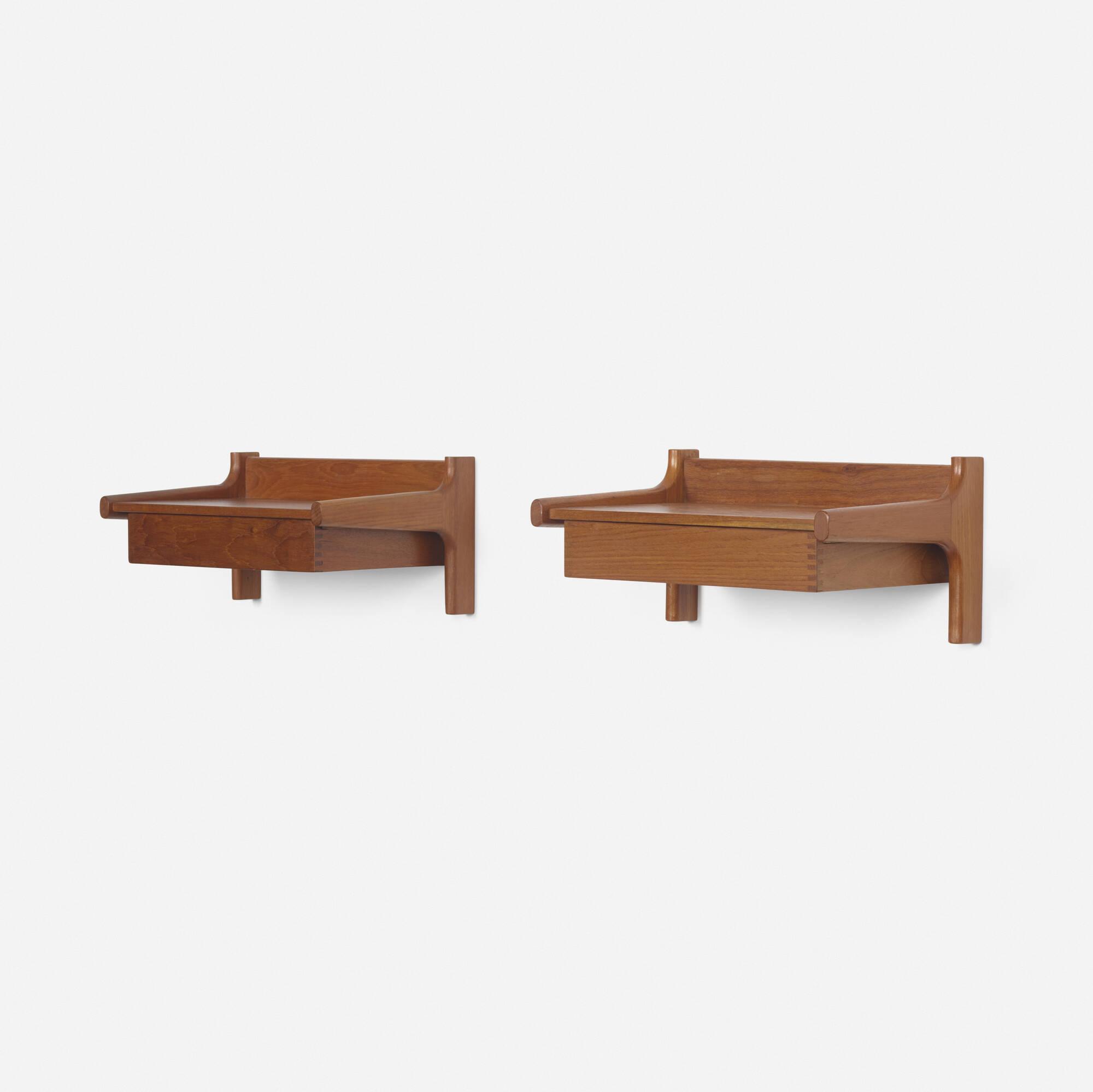 238: Børge Mogensen / wall-mounted nightstands, pair (1 of 2)