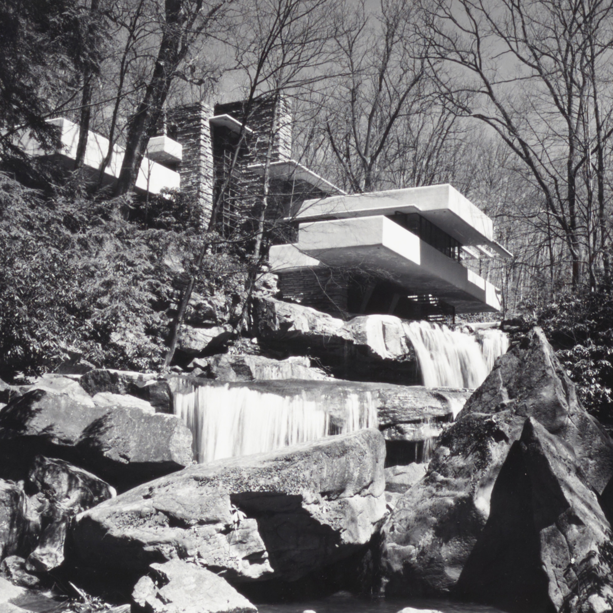 240: Ezra Stoller / Frank Lloyd Wright: Fallingwater, Bear Run, PA (with Jacques Lipchitz) (2 of 2)
