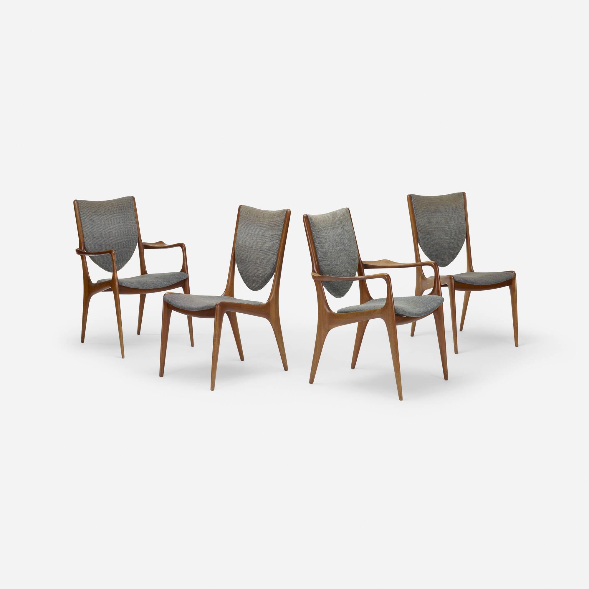 243 Vladimir Kagan Shield Back Dining Chairs Set Of Four 1