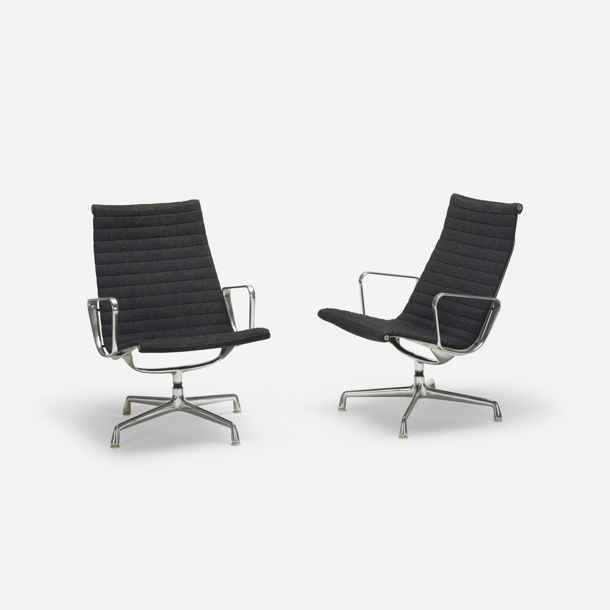 244 Charles And Ray Eames Aluminum Group Lounge Chairs Pair