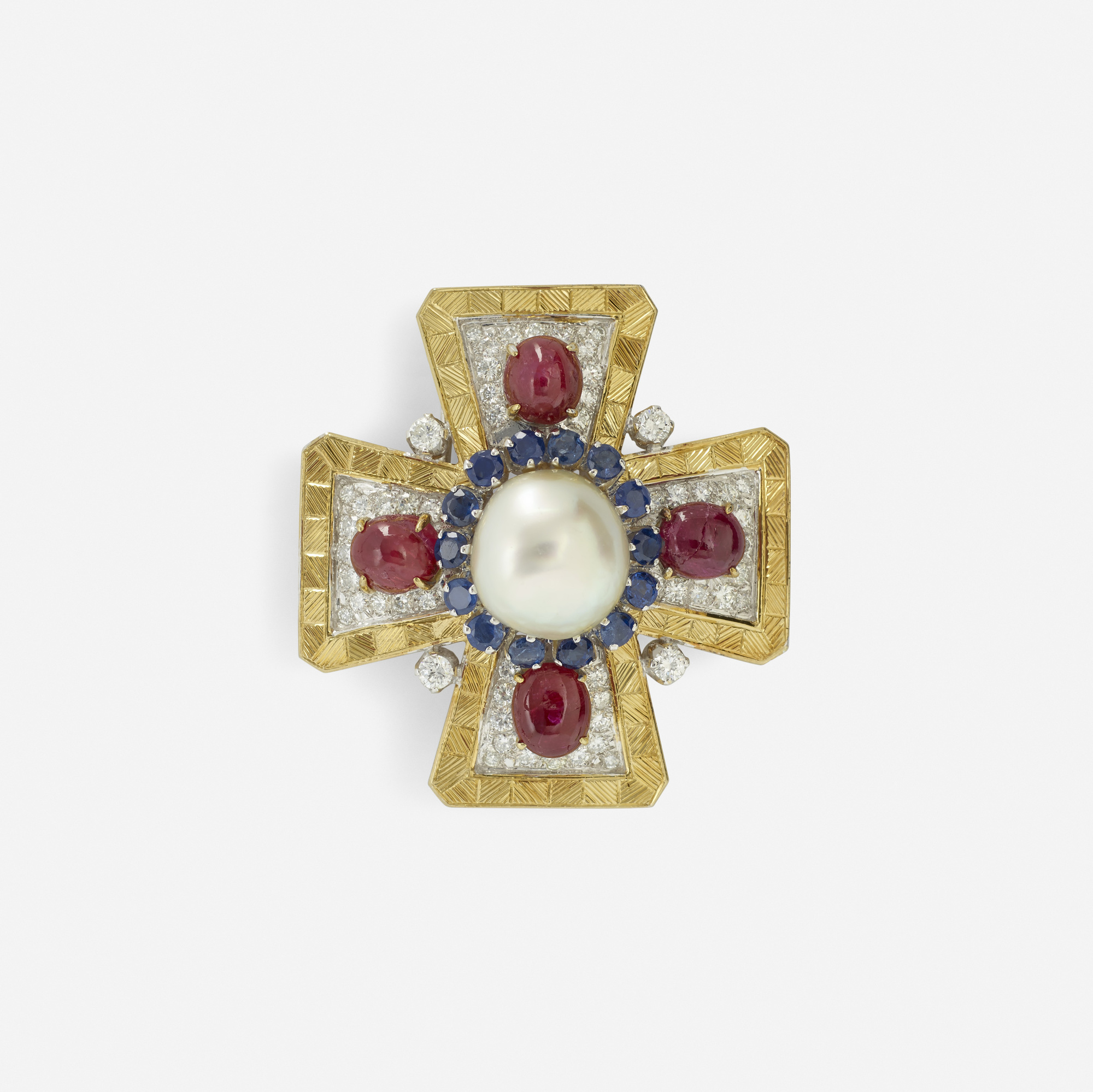 249:  / A gold, ruby, sapphire, diamond and cultured pearl Maltese cross pendant (1 of 1)