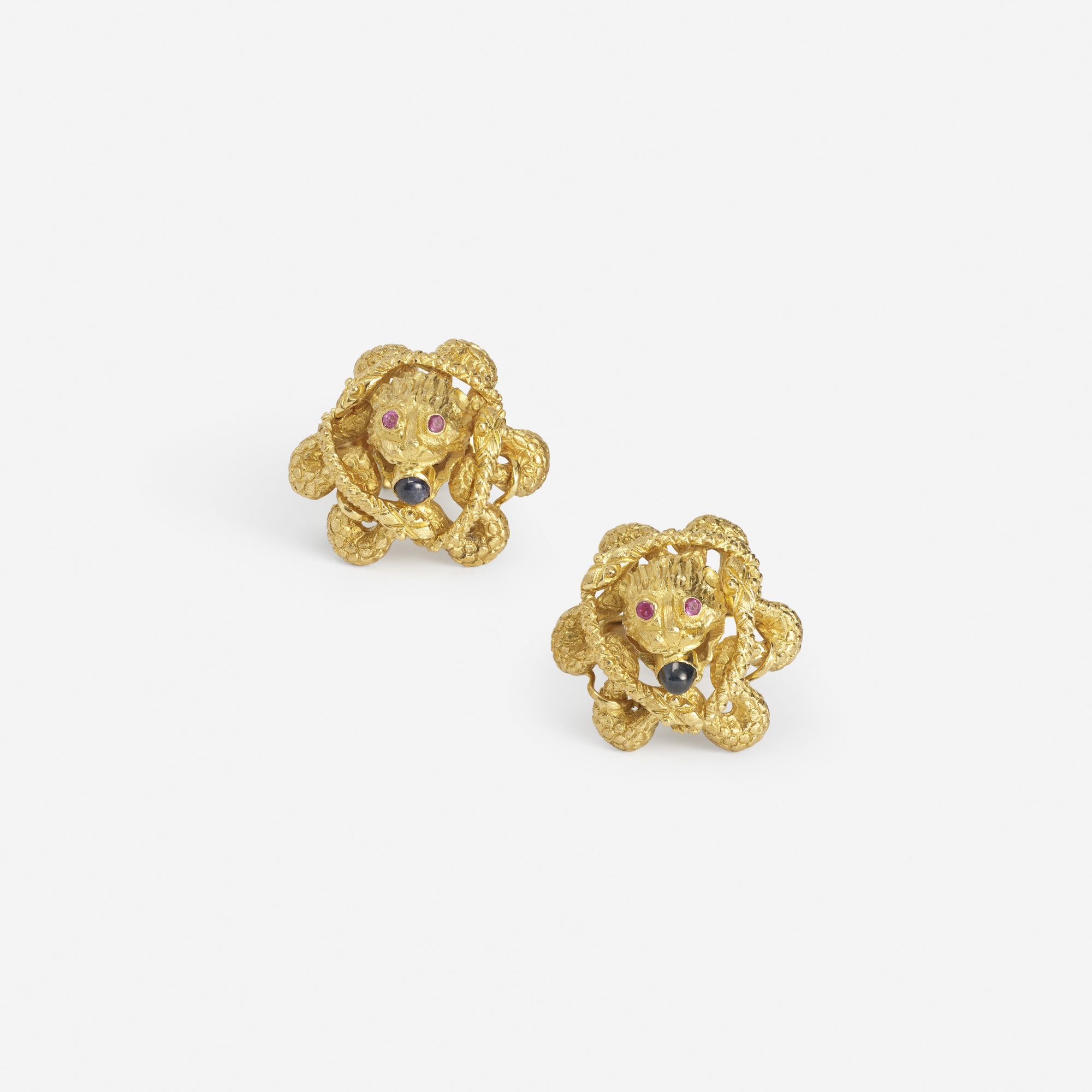 250: Lalaounis / A pair of gold, ruby and sapphire cufflinks (1 of 2)