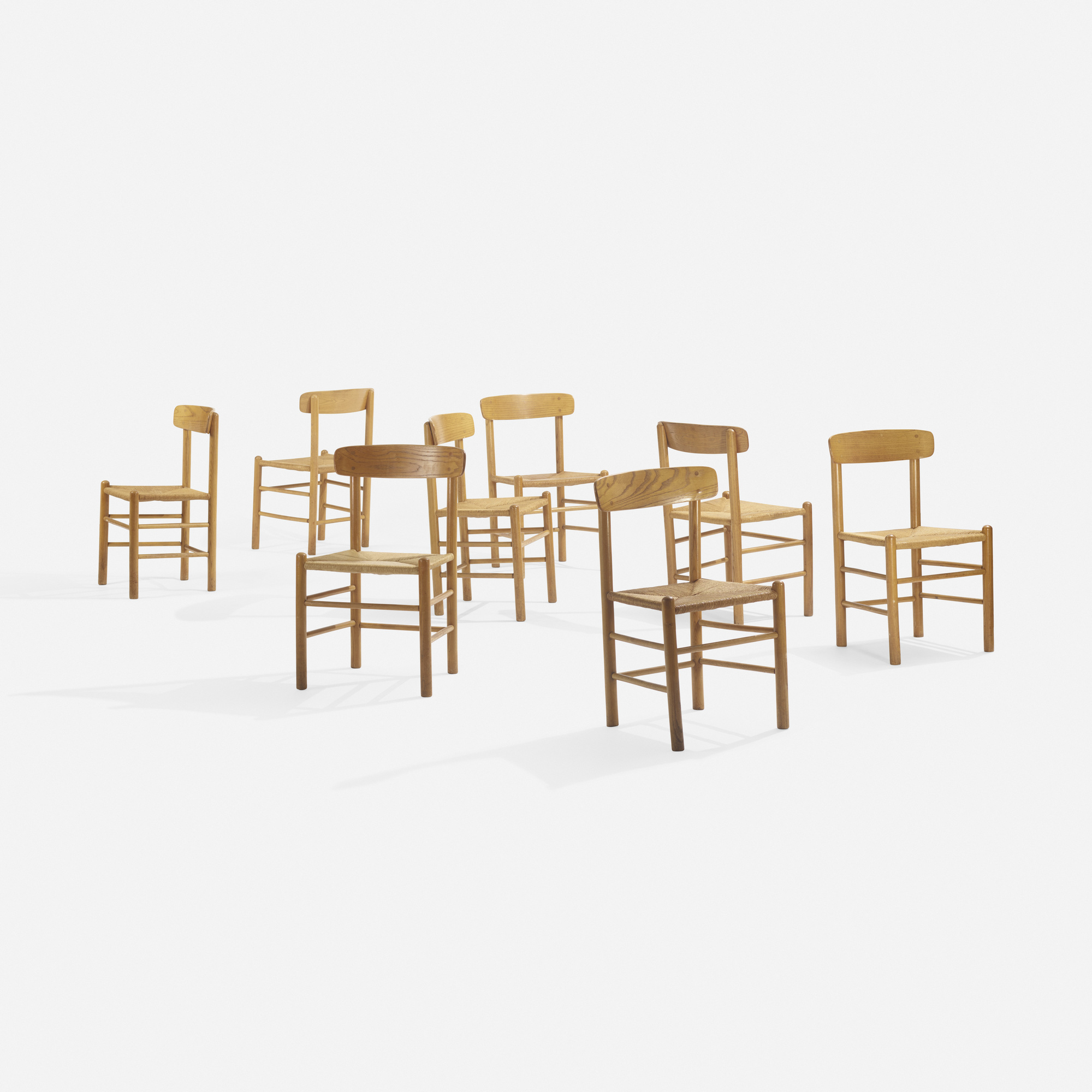 251: In the manner of Børge Mogensen / dining chairs, set of eight (1 of 3)