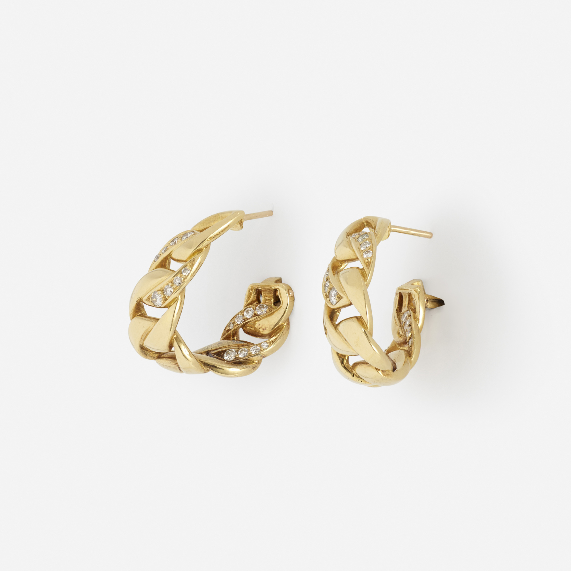 252: Cartier / A pair of gold and diamond earrings (2 of 2)