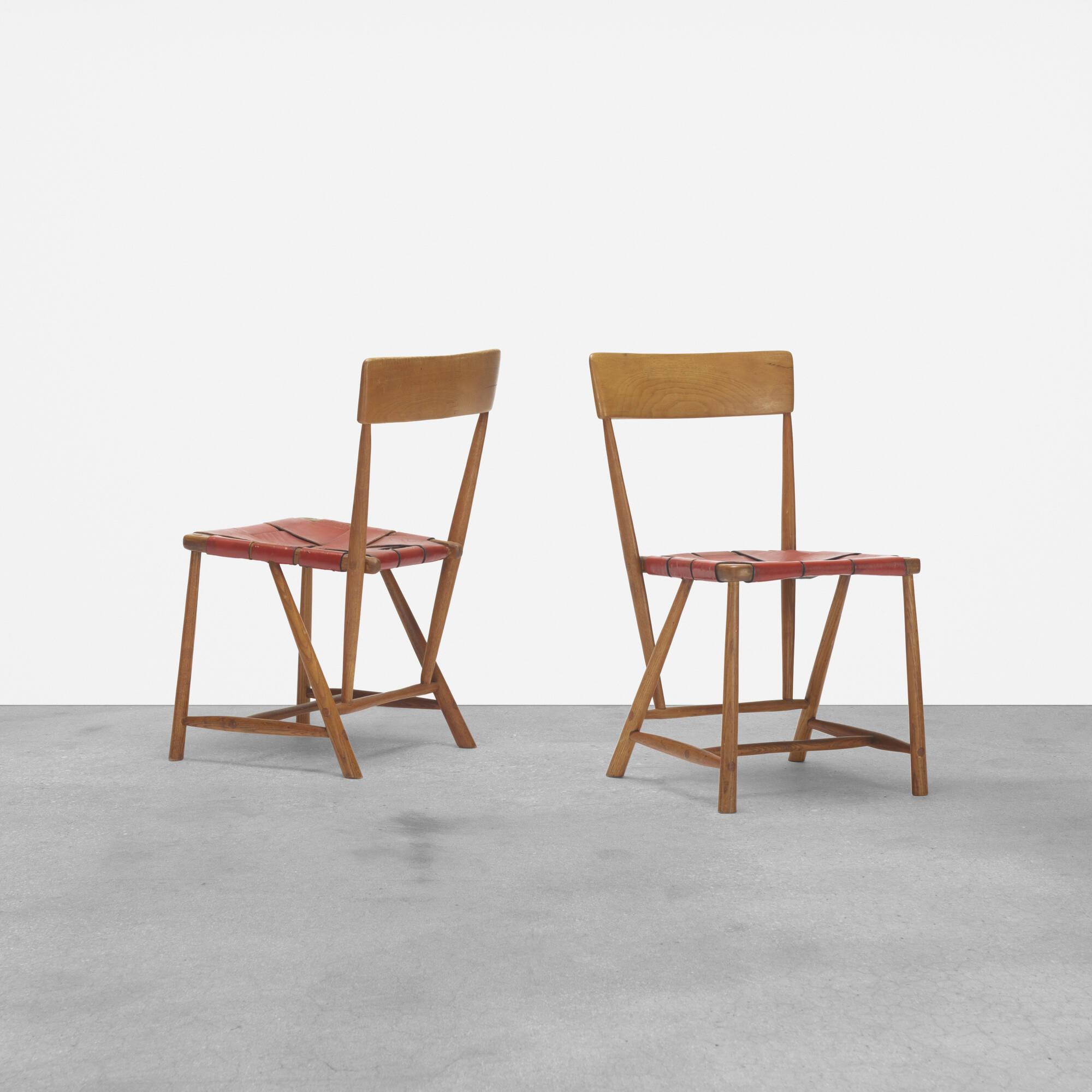 254: Wharton Esherick / Hammer Handle chairs, pair (1 of 4)