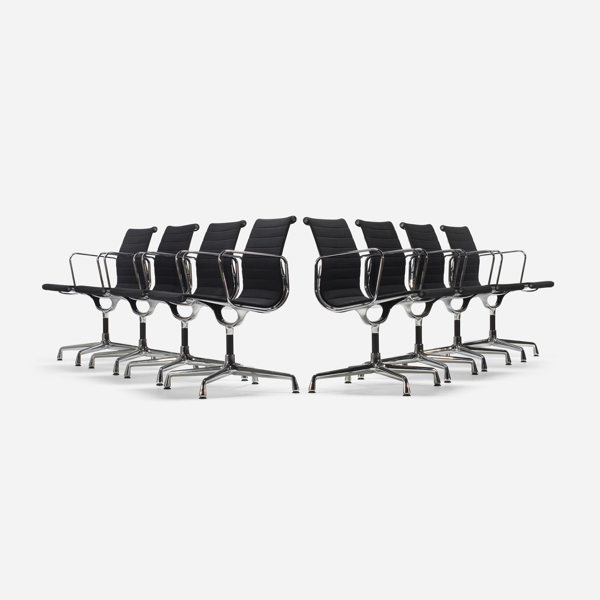 257: Charles and Ray Eames / Aluminum group dining chairs model EA 108, set of eight (1 of 4)