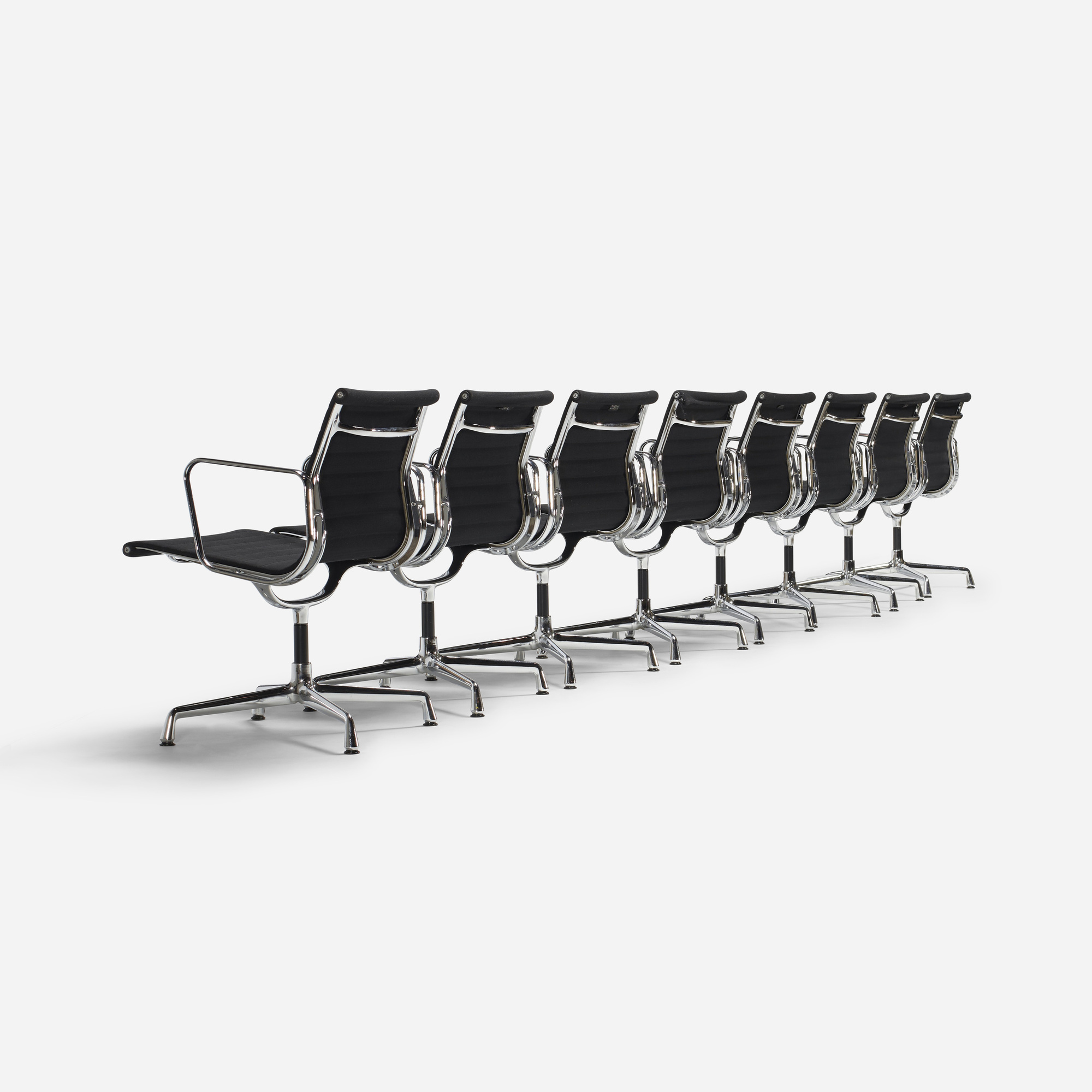257: Charles and Ray Eames / Aluminum group dining chairs model EA 108, set of eight (2 of 4)