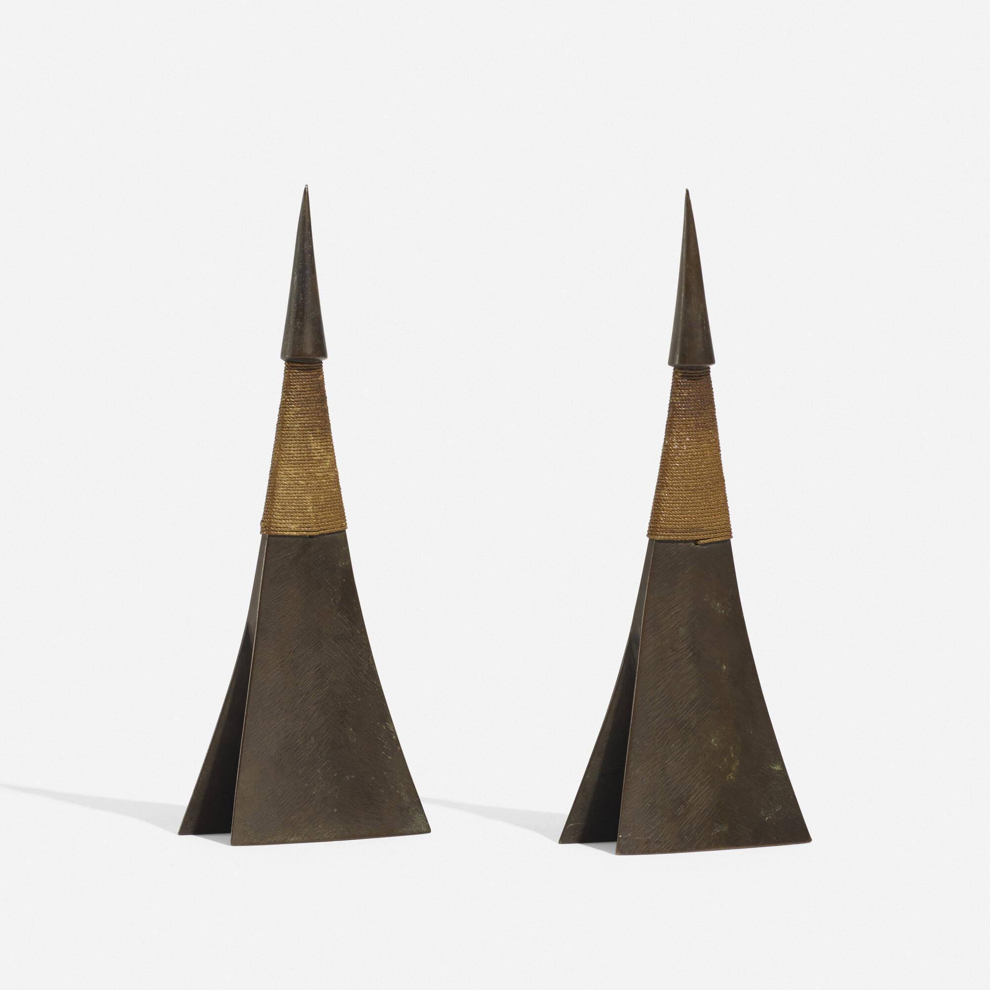 260: Carl Auböck II / rare candlesticks model 3502, pair (1 of 3)