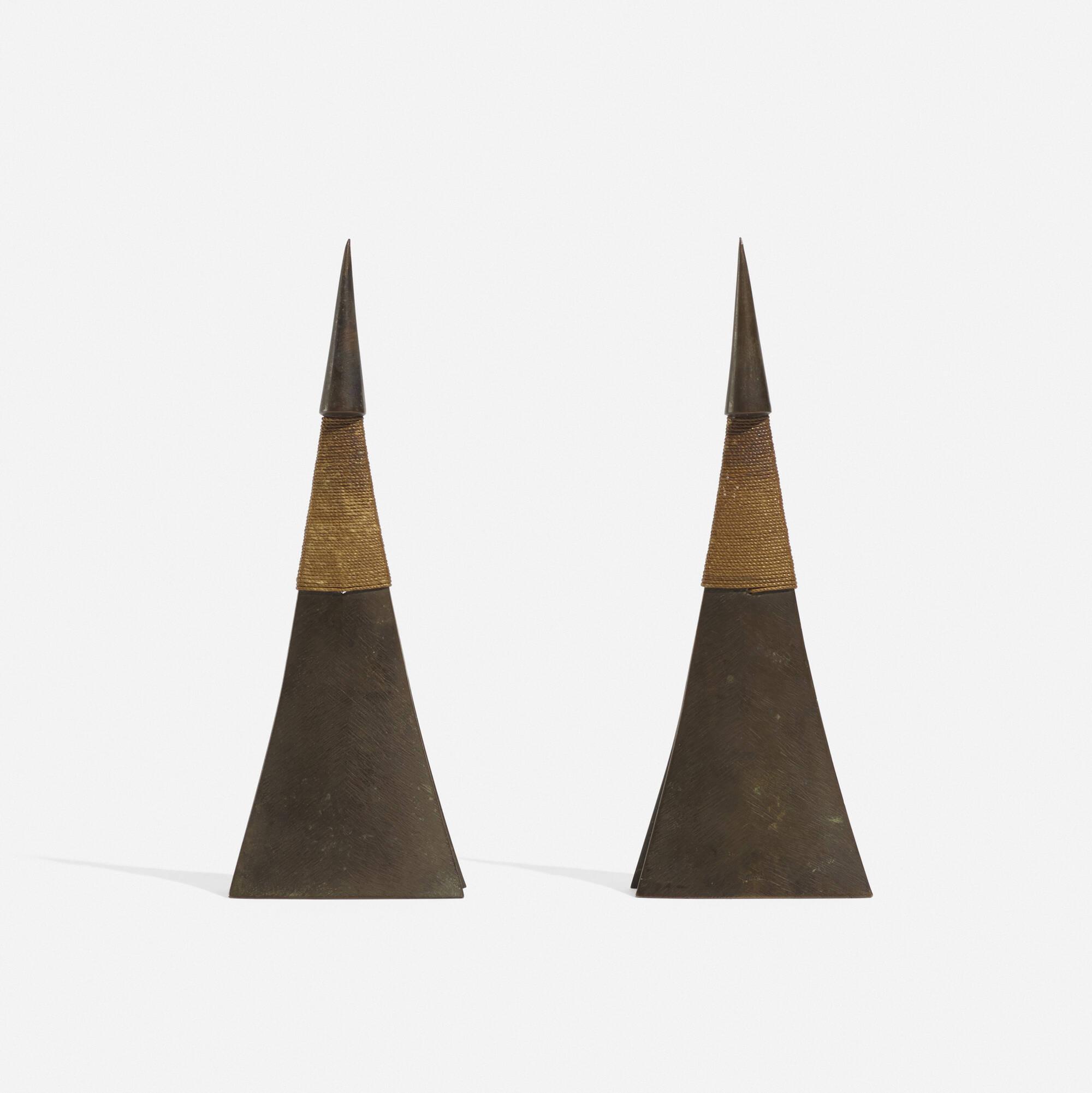 260: Carl Auböck II / rare candlesticks model 3502, pair (2 of 3)