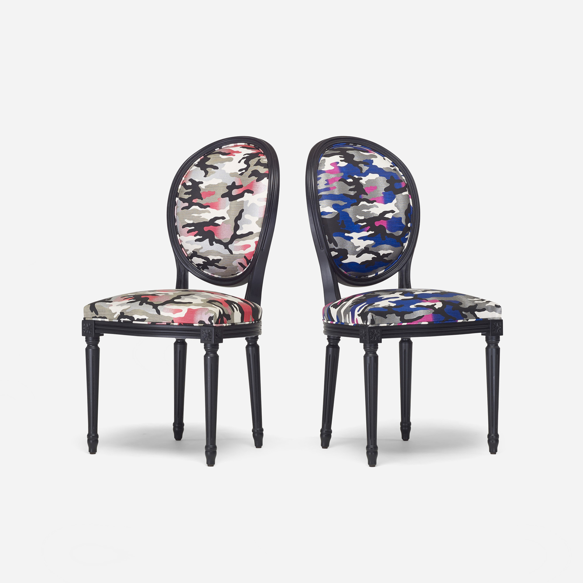 266: Anselm Reyle for Dior / custom Louis XVI chairs, pair (1 of 3)