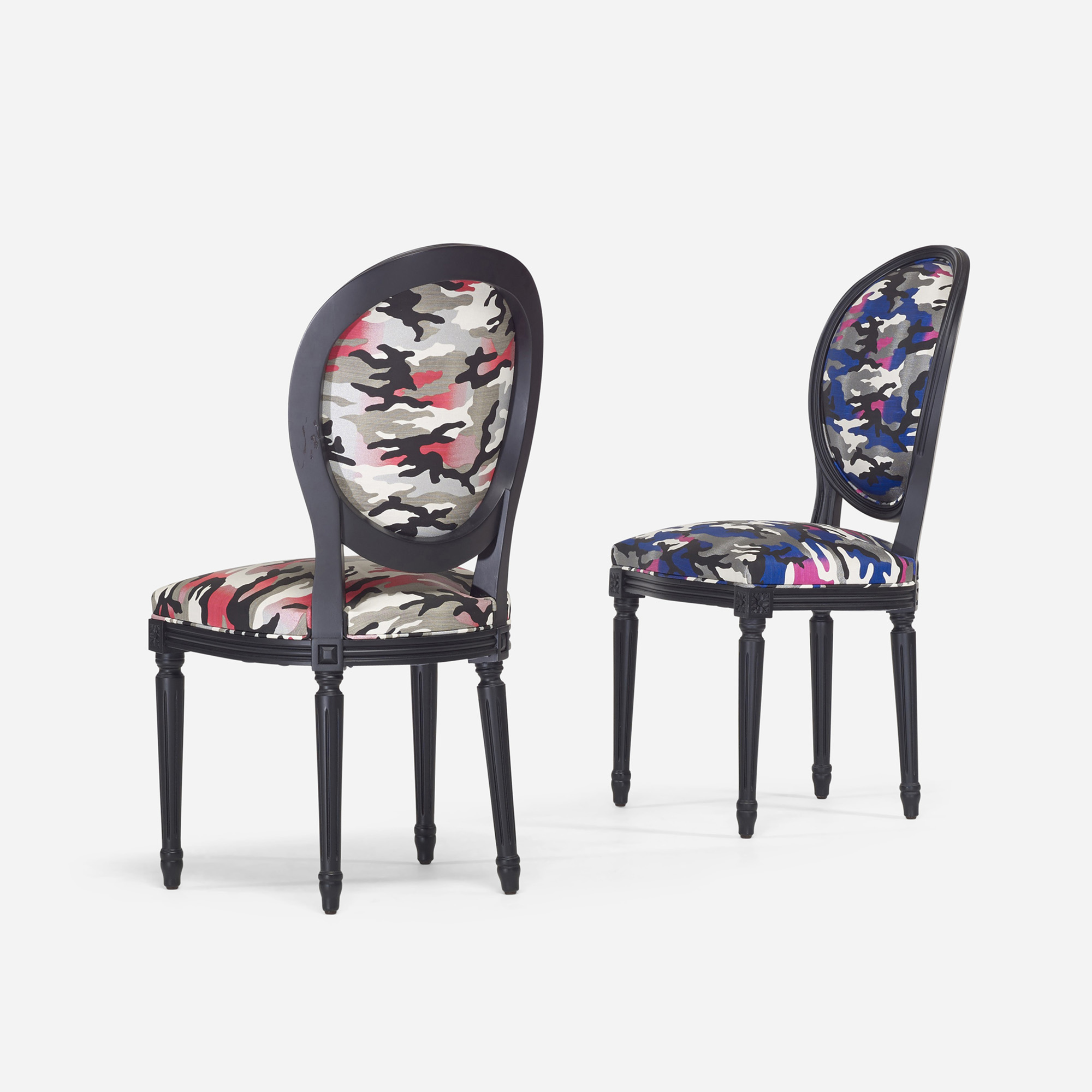 266: Anselm Reyle for Dior / custom Louis XVI chairs, pair (2 of 3)