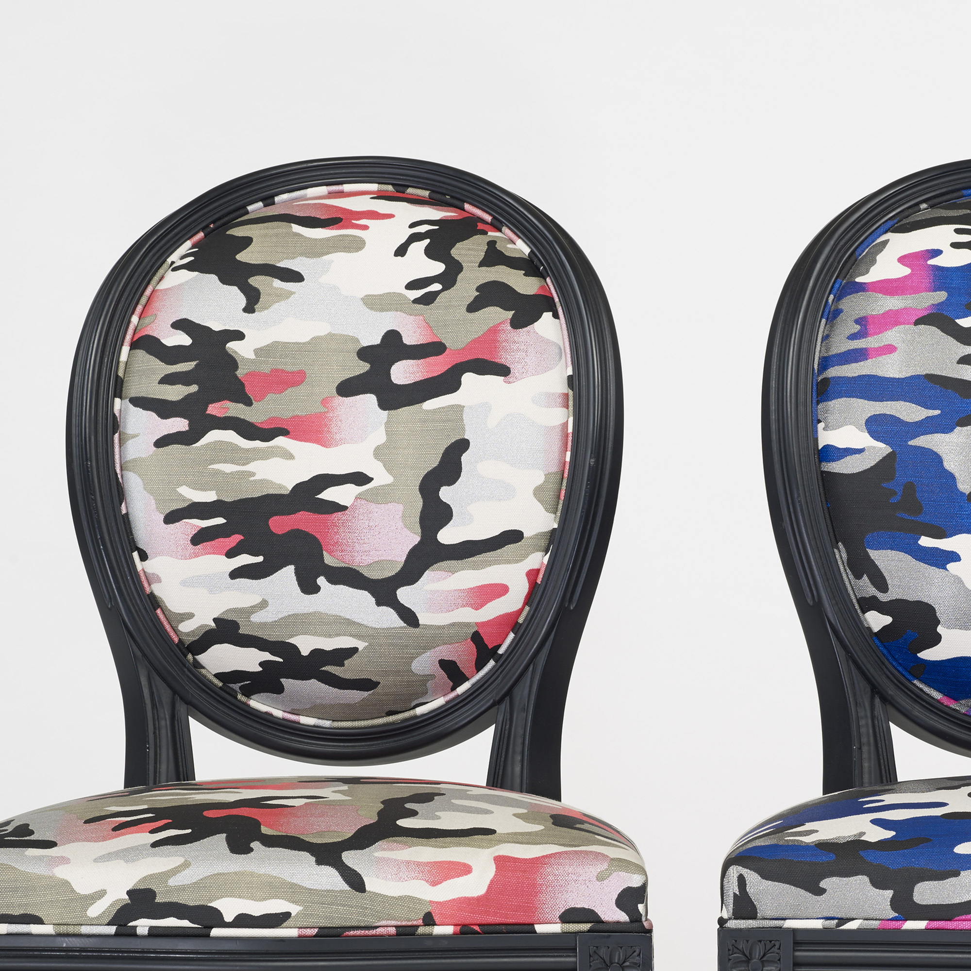 266: Anselm Reyle for Dior / custom Louis XVI chairs, pair (3 of 3)
