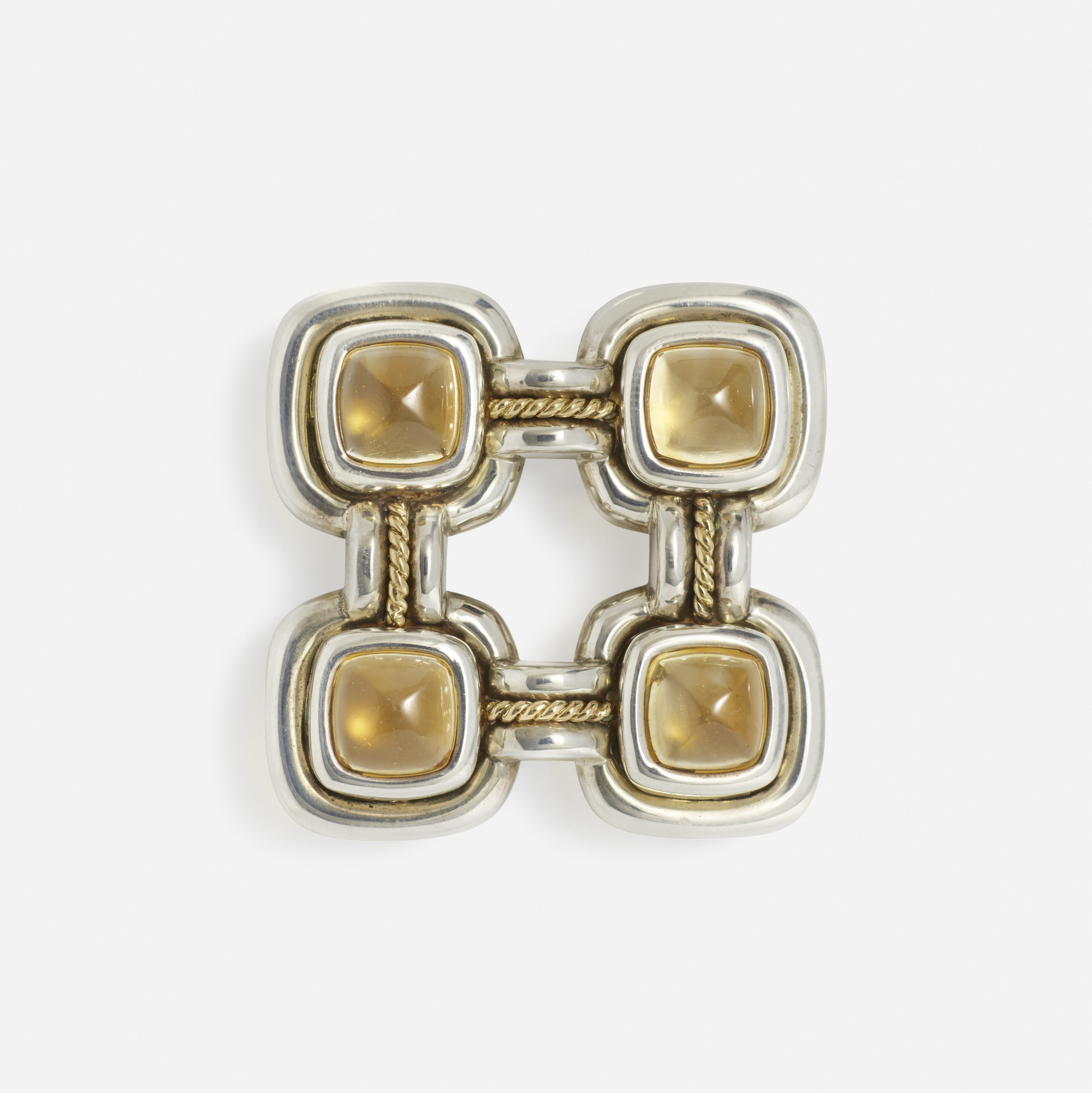 268: Tiffany & Co. / A sterling silver, gold and citrine brooch (1 of 1)