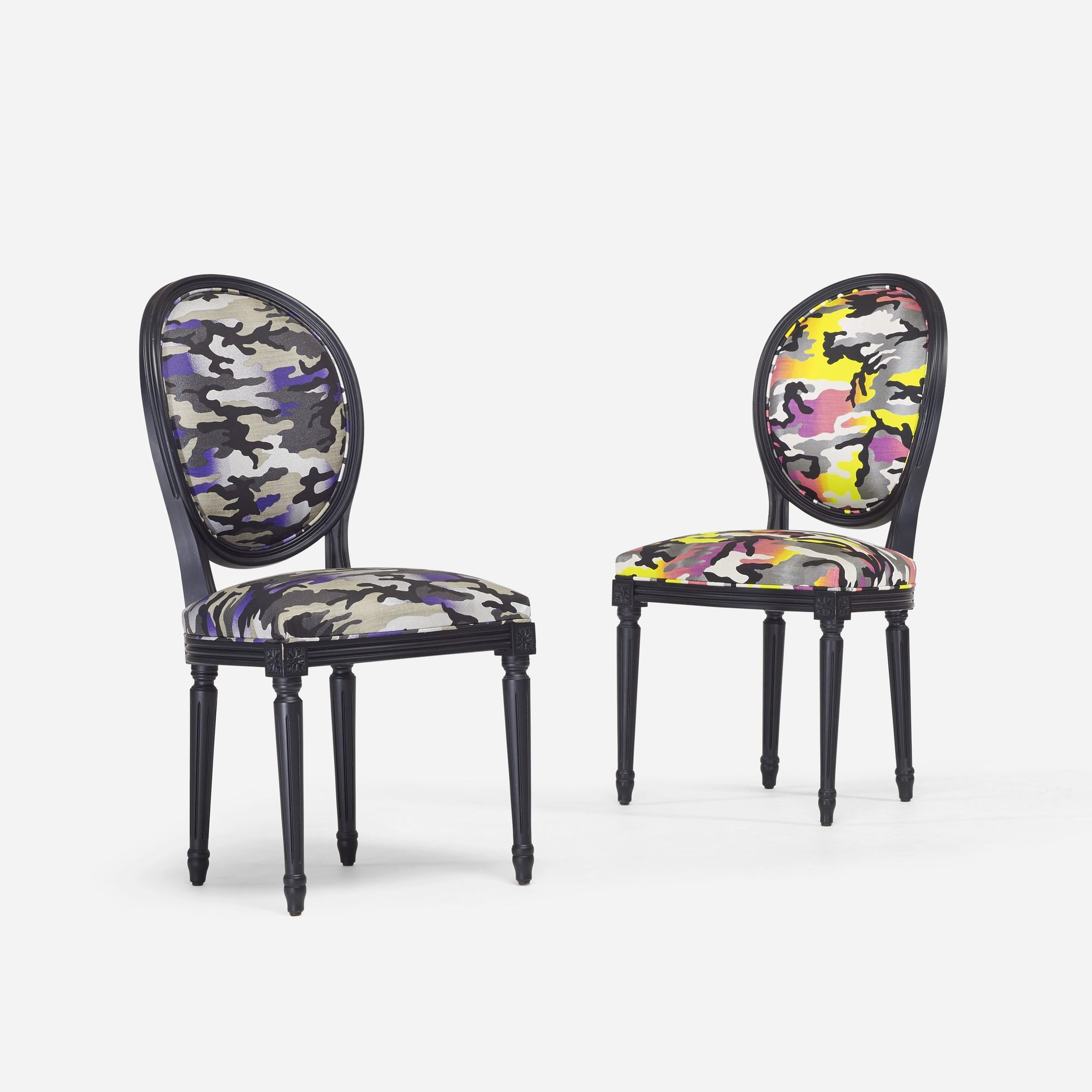 268: Anselm Reyle for Dior / custom Louis XVI chairs, pair (1 of 3)
