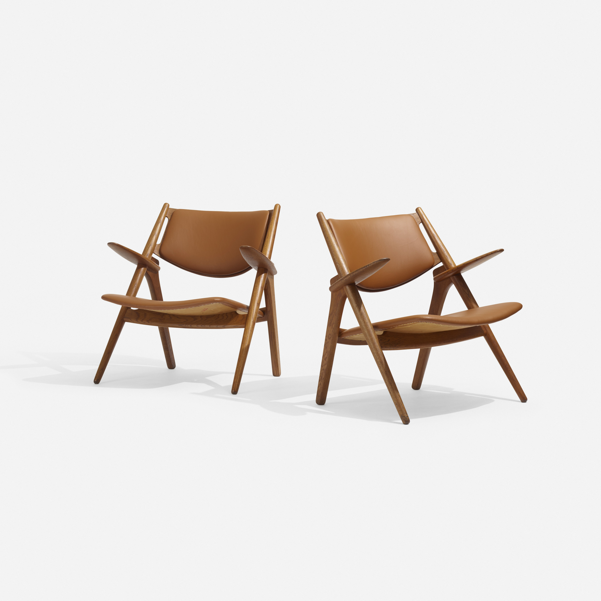 268: Hans J. Wegner / Sawbuck Lounge Chairs, Pair (1 Of 4