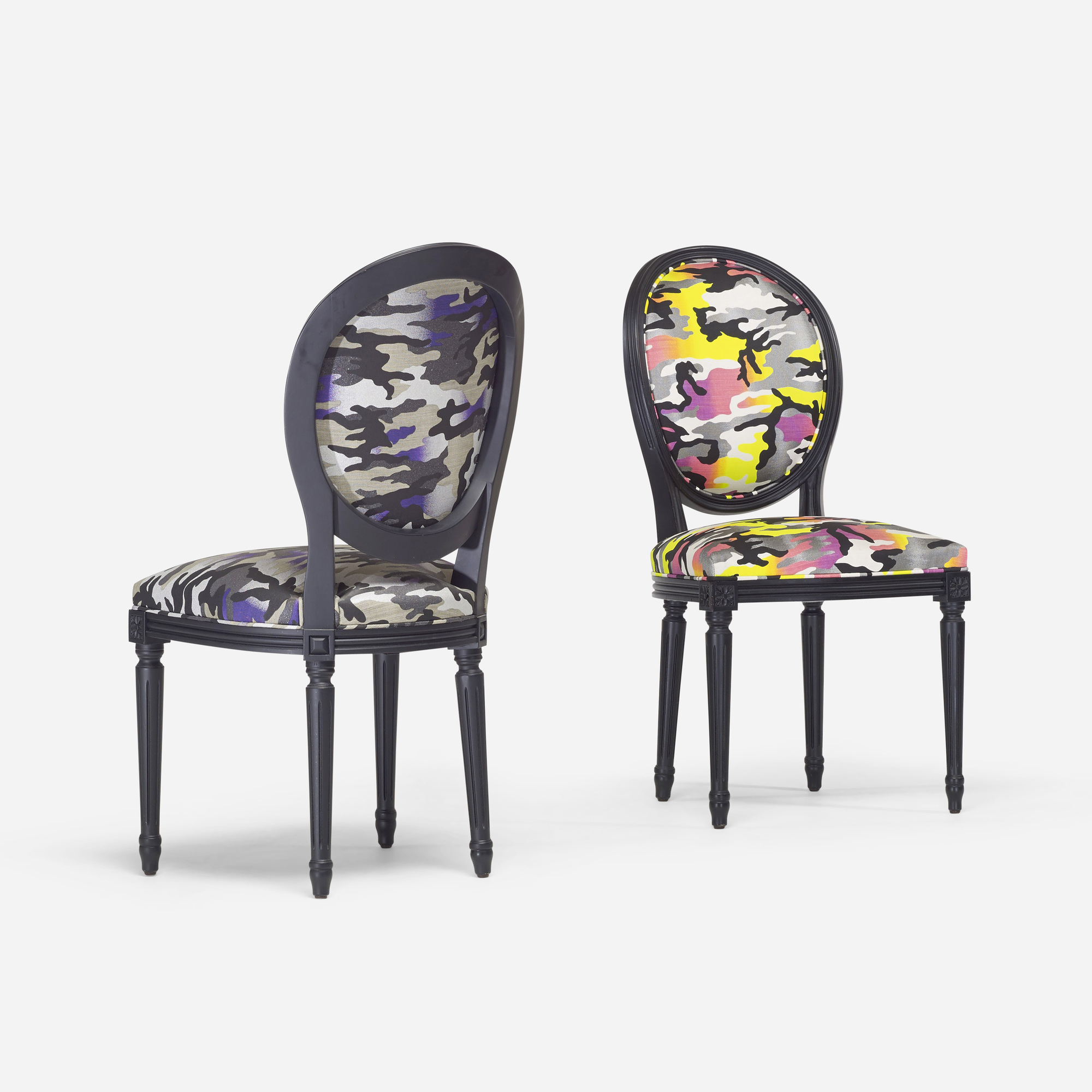268: Anselm Reyle for Dior / custom Louis XVI chairs, pair (2 of 3)