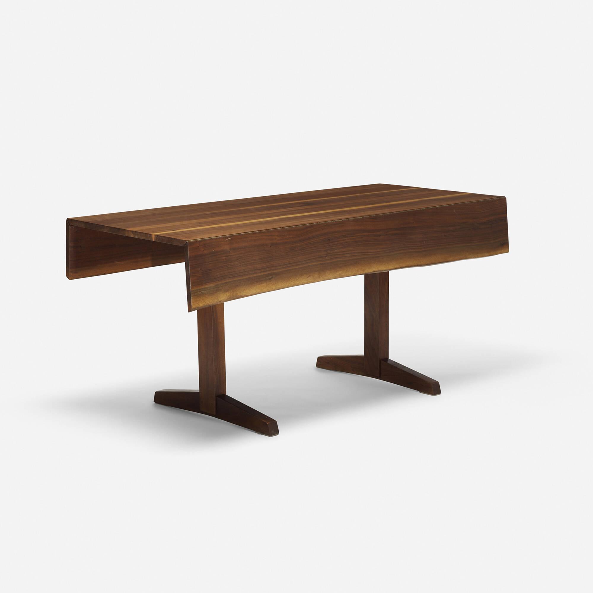 269 george nakashima trestle base drop leaf dining table. Black Bedroom Furniture Sets. Home Design Ideas