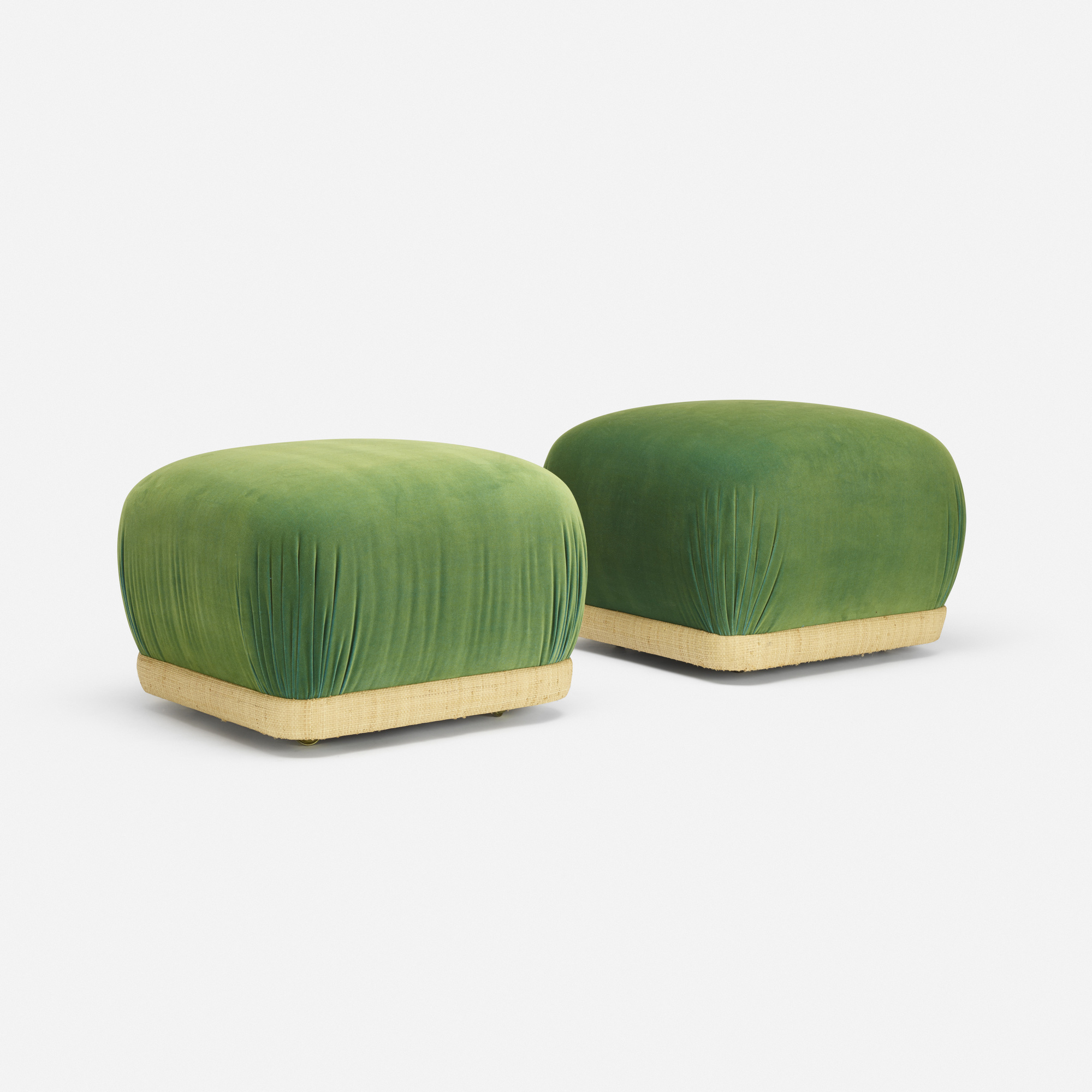 270: After Karl Springer / ottomans, pair (1 of 3)