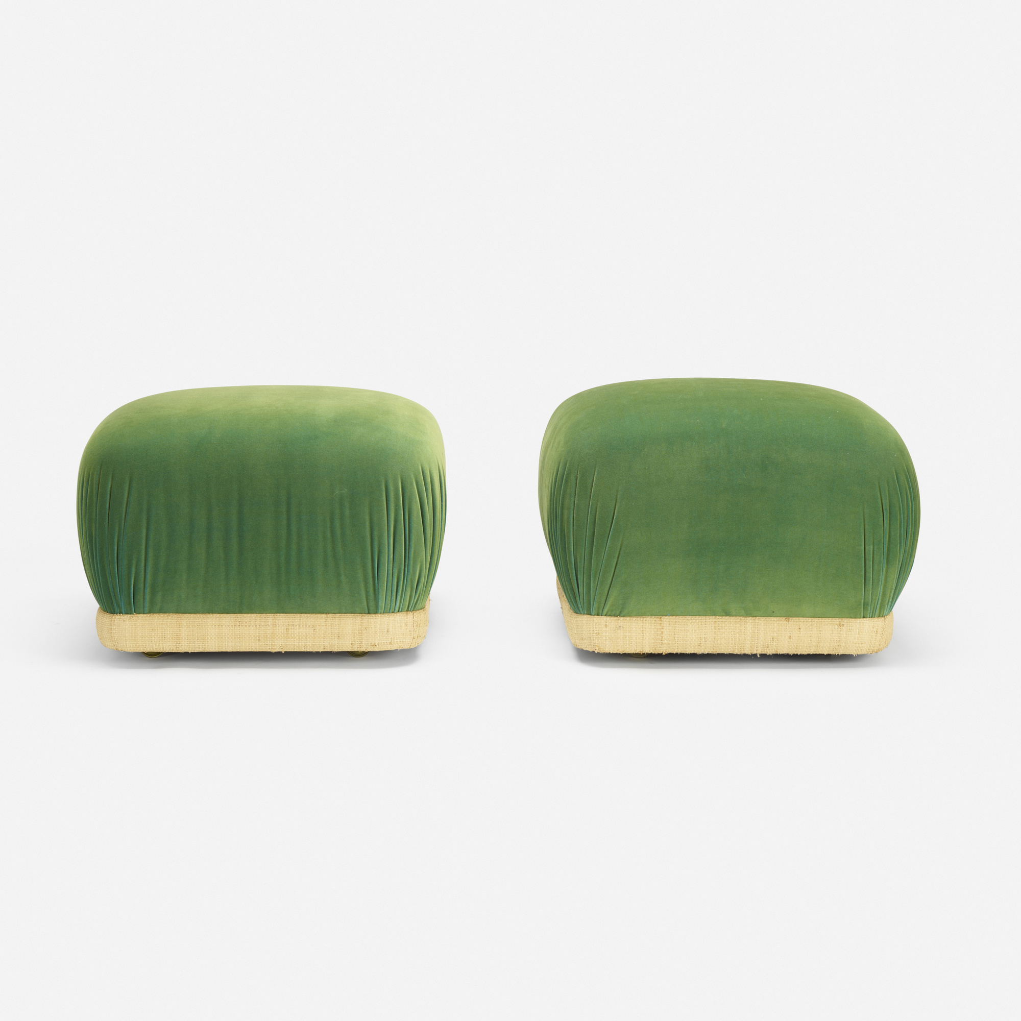 270: After Karl Springer / ottomans, pair (2 of 3)