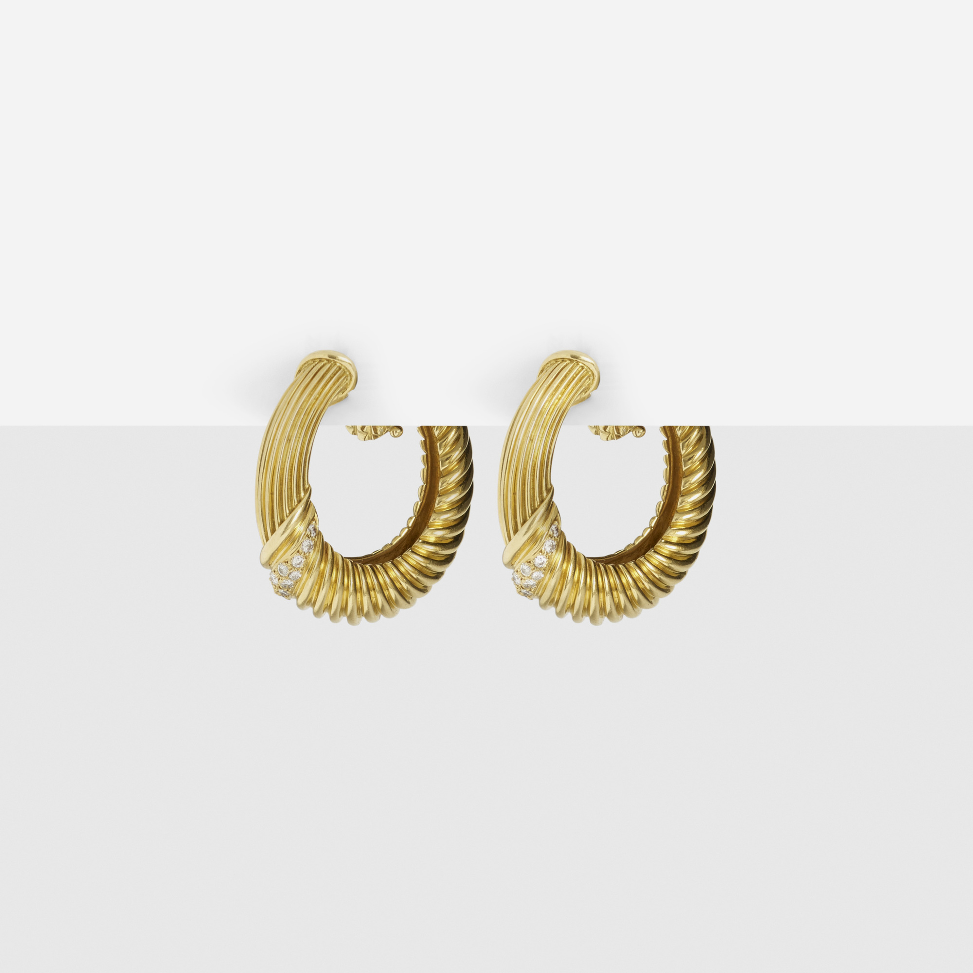 272:  / A pair of gold and diamond earrings (1 of 1)