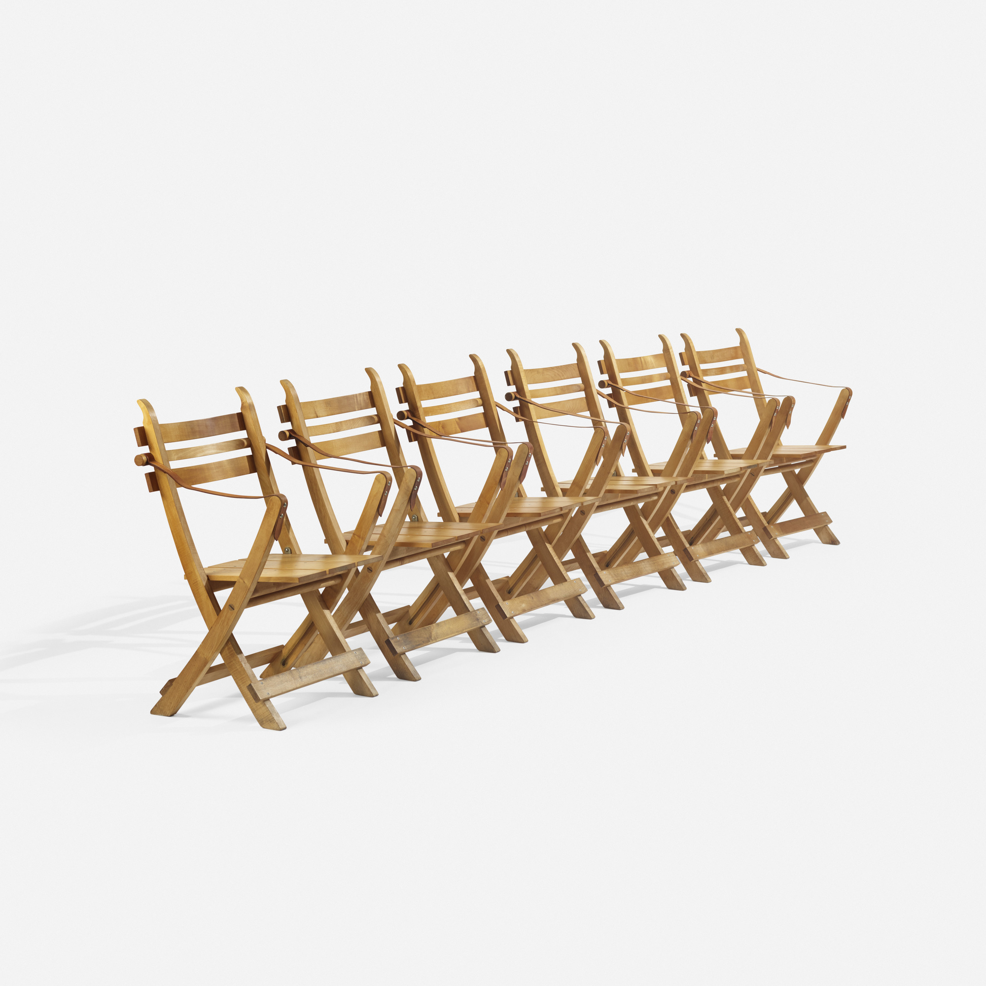 275: Hans J. Wegner / folding chairs, set of six (1 of 3)