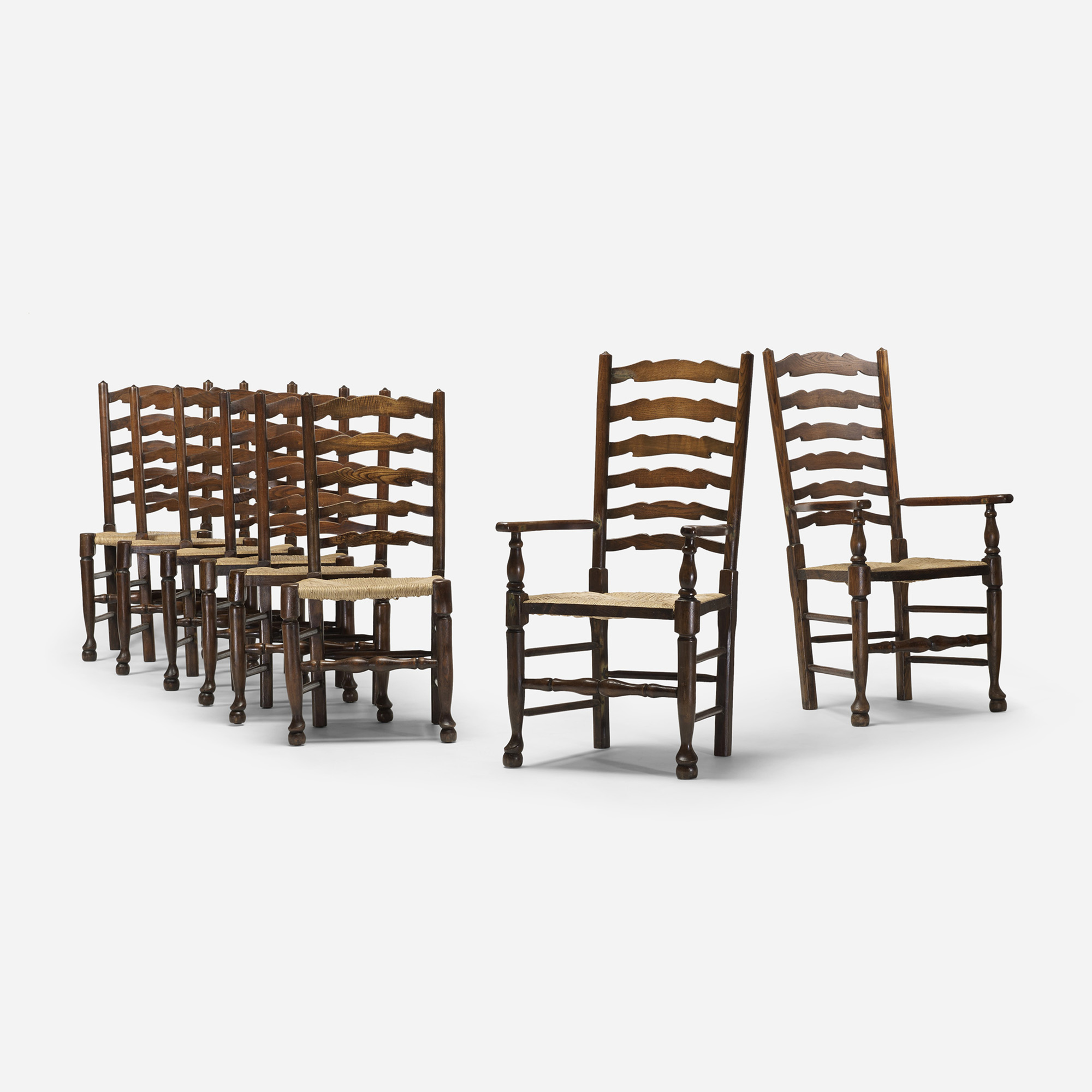 277: English / ladderback chairs, set of eight (1 of 4)