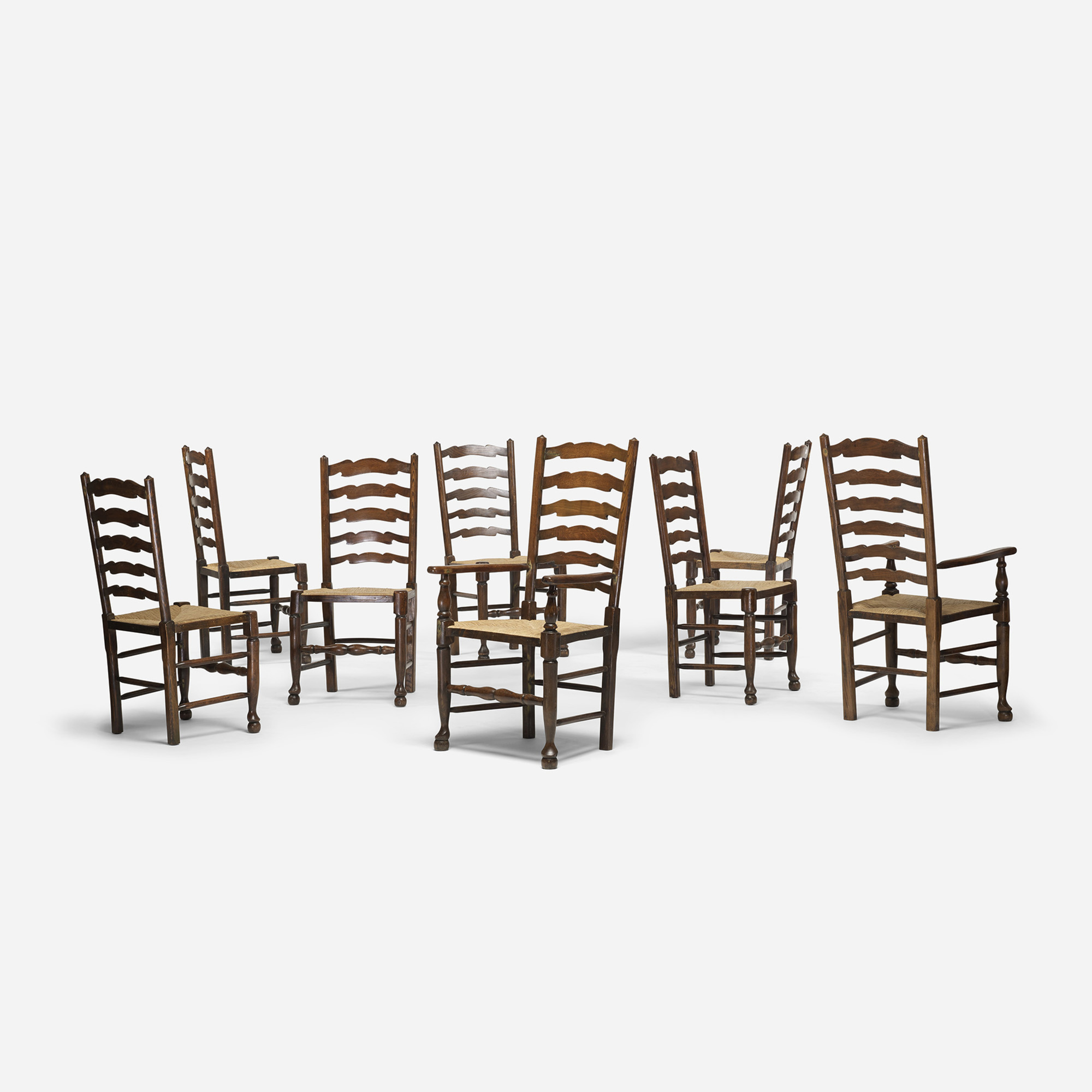 277: English / ladderback chairs, set of eight (2 of 4)