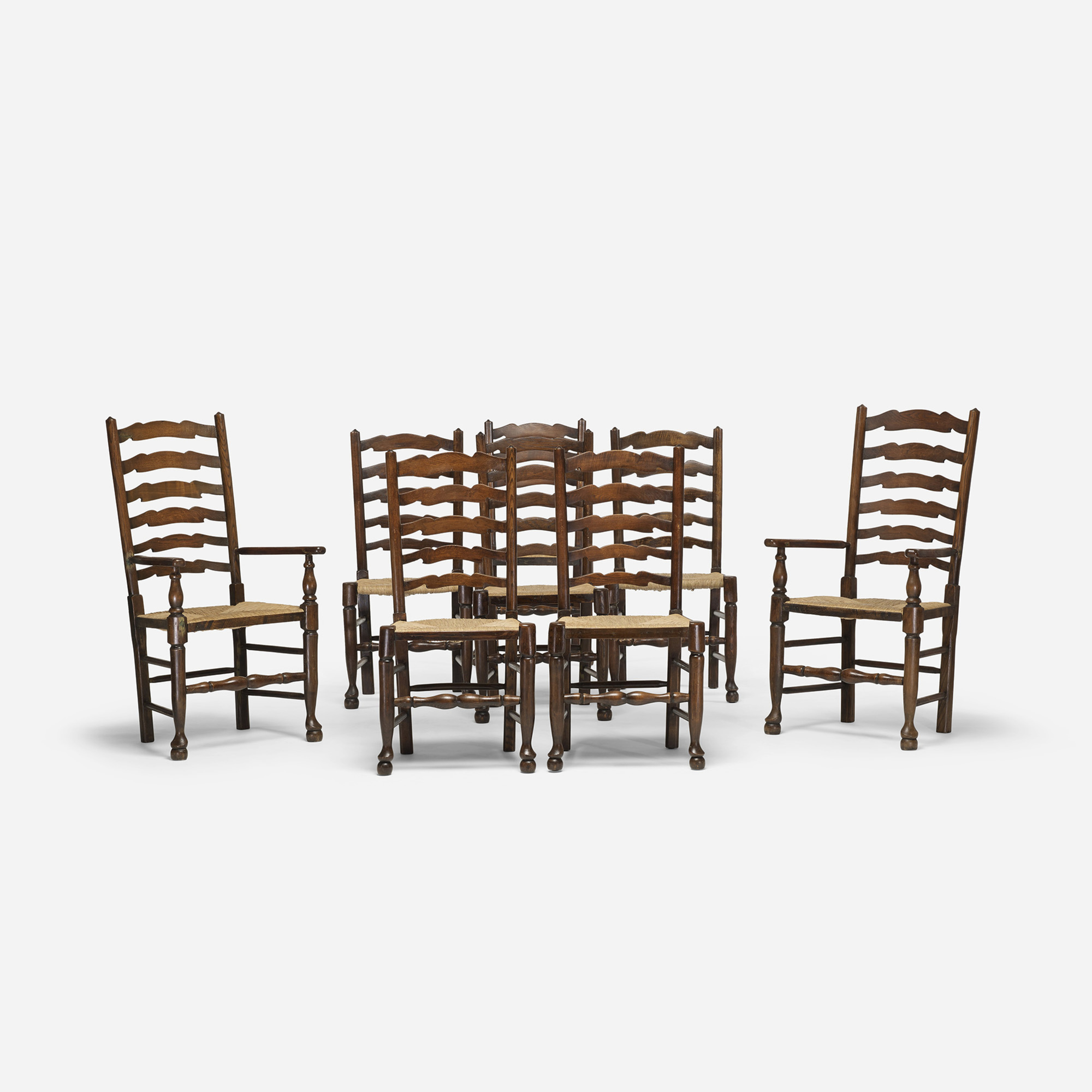 277: English / ladderback chairs, set of eight (3 of 4)
