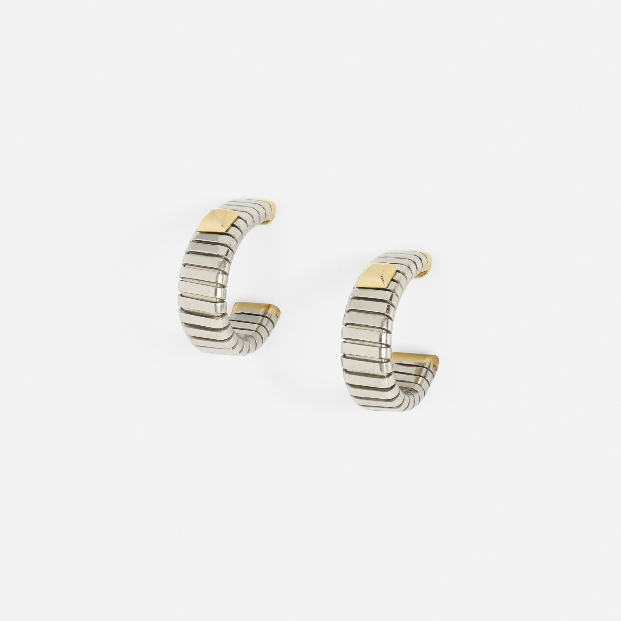 279: Bulgari / A pair of gold and steel earrings (1 of 1)