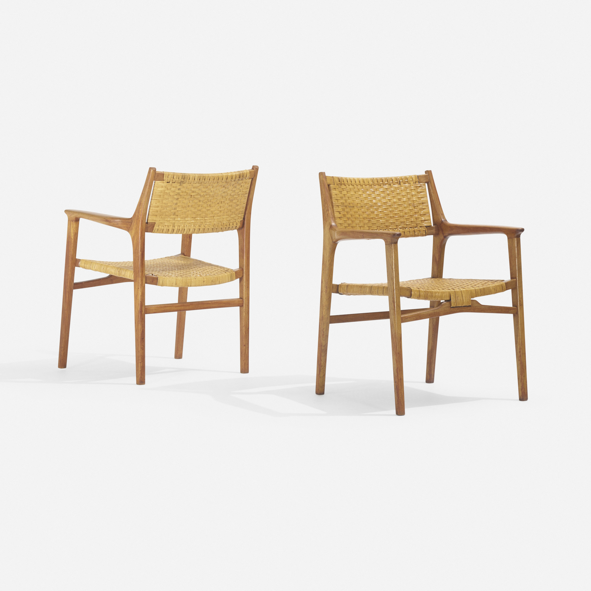 281: Hans J. Wegner / rare lounge chairs, pair (1 of 3)
