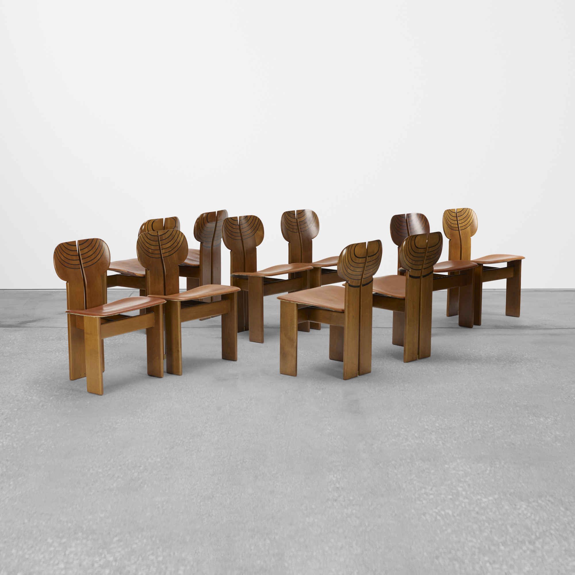 290: Afra and Tobia Scarpa / set of ten Africa chairs from the Artona series (1 of 3)