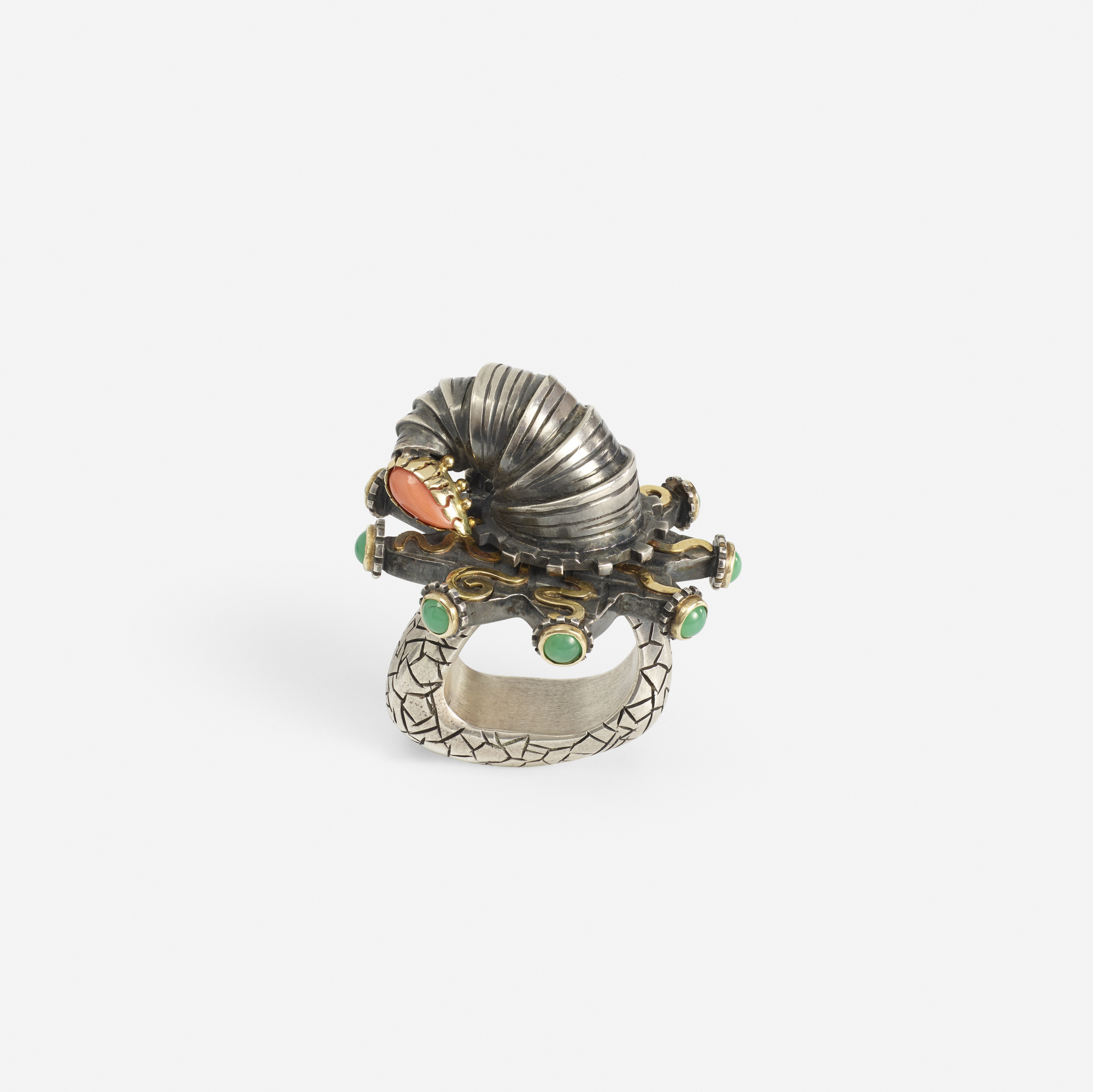290: Sabine Klarner / A sterling silver, gold, chrysoprase and coral ring (1 of 1)