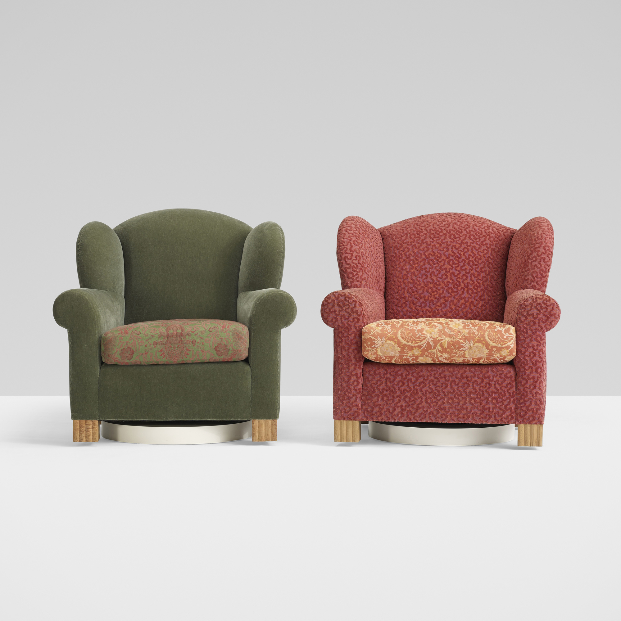 293: Roy McMakin / pair of Swivel Wingback chairs for the Young residence, Chicago (1 of 3)