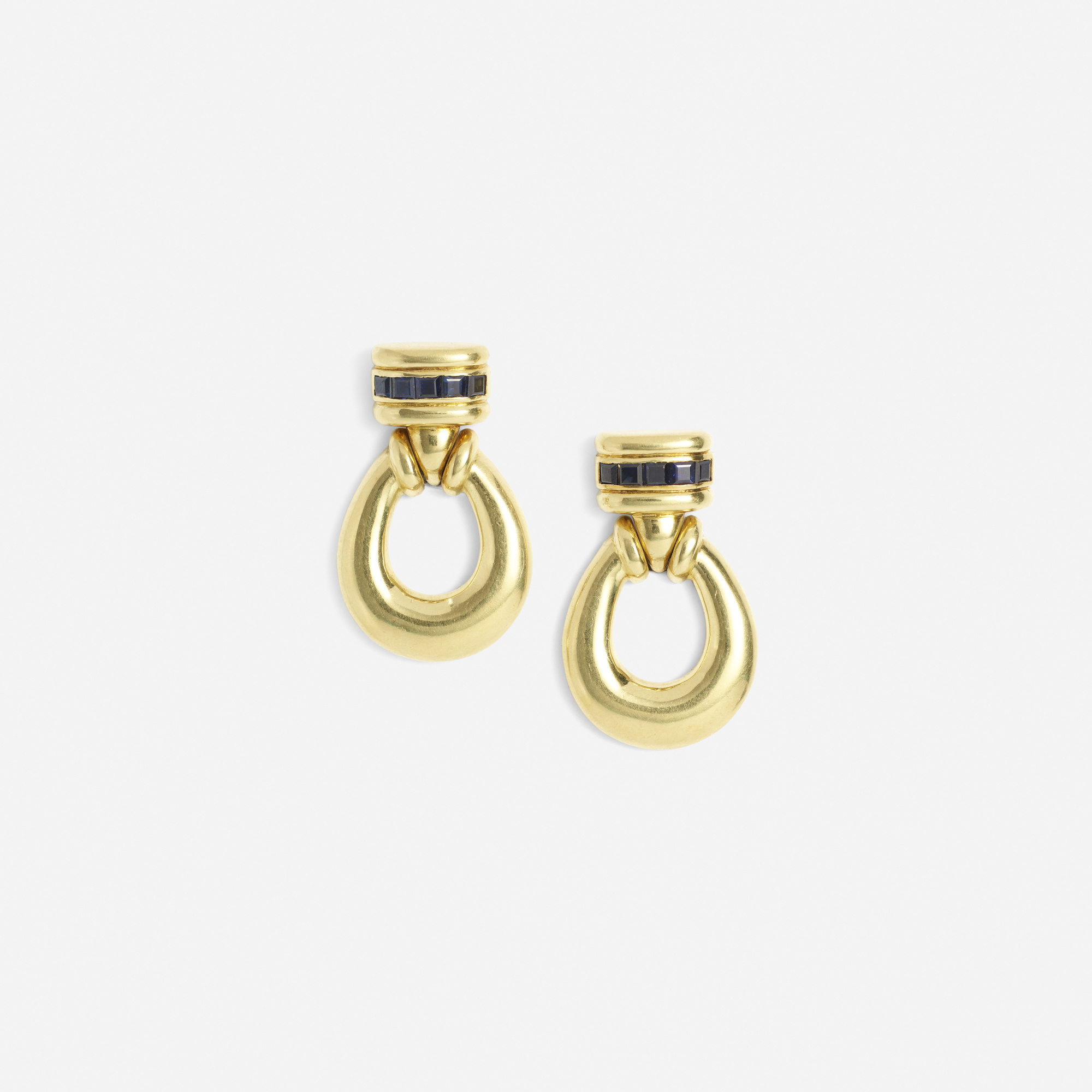 296:  / A pair of gold and sapphire earrings (1 of 1)