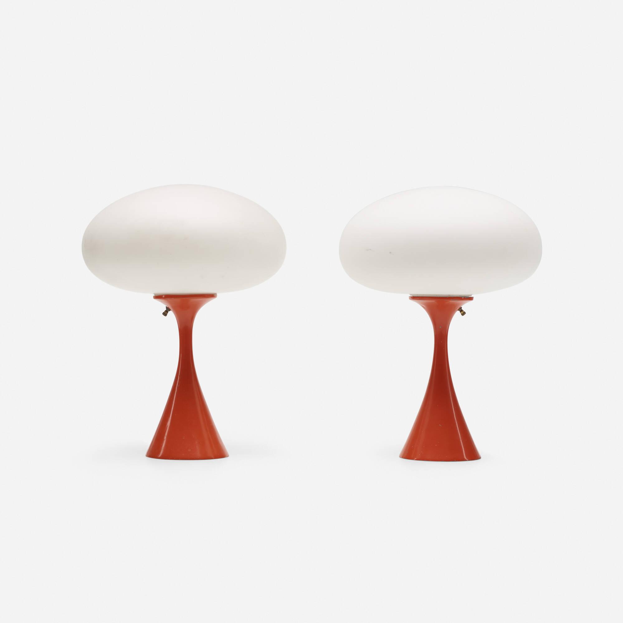 297: Laurel Lamp Co. / Mushroom table lamps, pair (1 of 2)