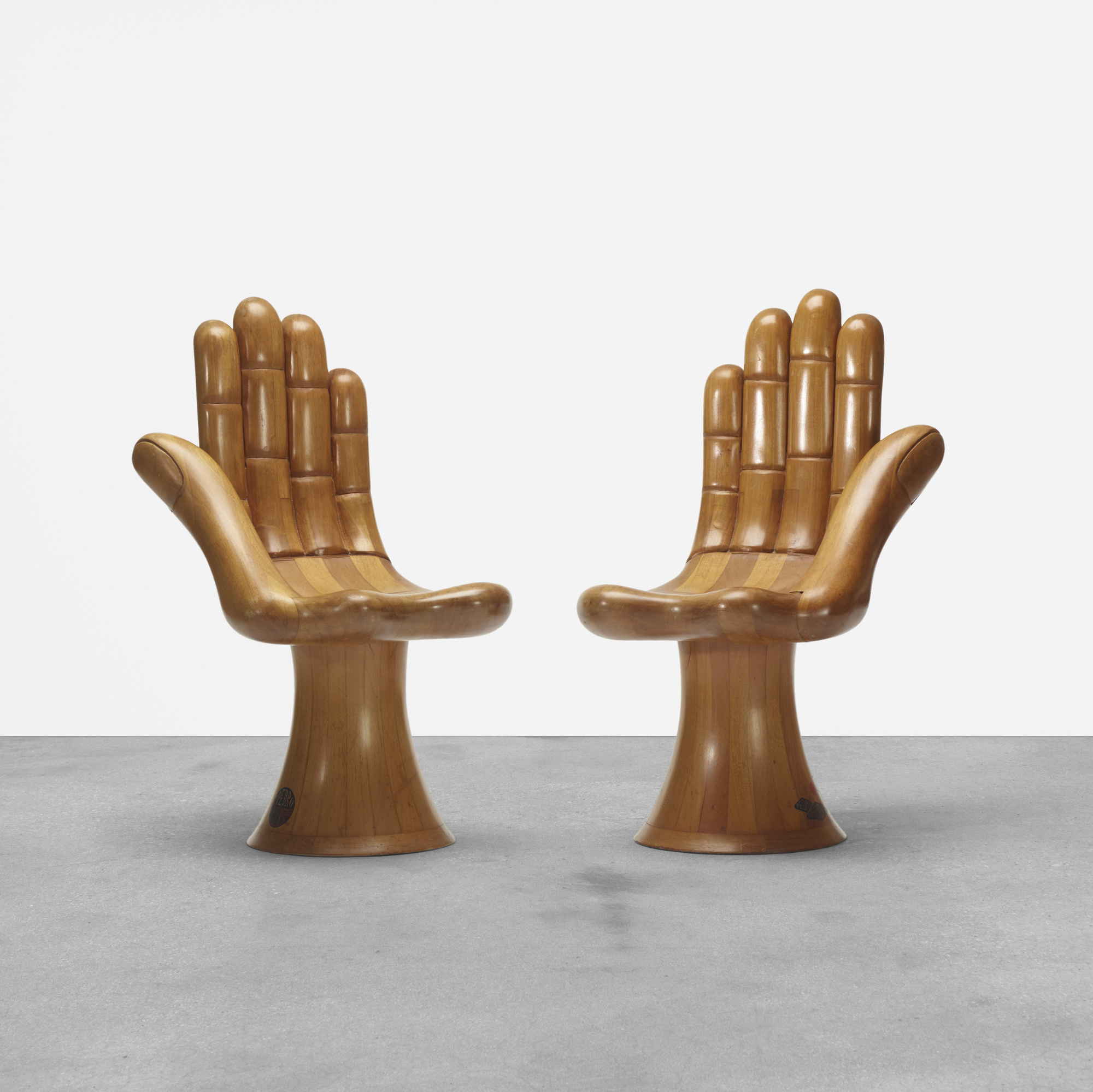299: Pedro Friedeberg / early and rare Hand chairs, pair (1 of 4)