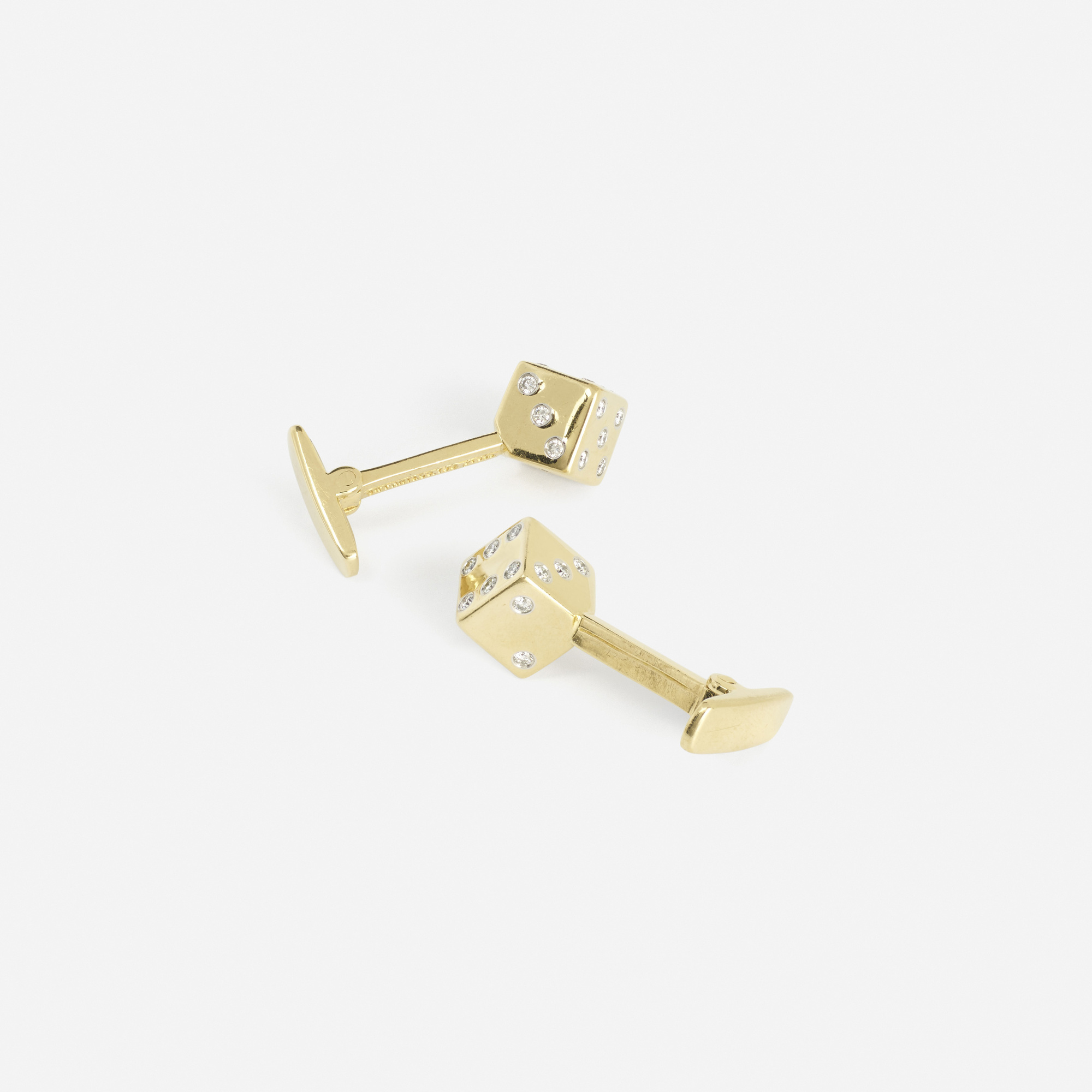 301: Tiffany & Co. / A pair of gold, platinum and diamond Dice cufflinks (1 of 2)