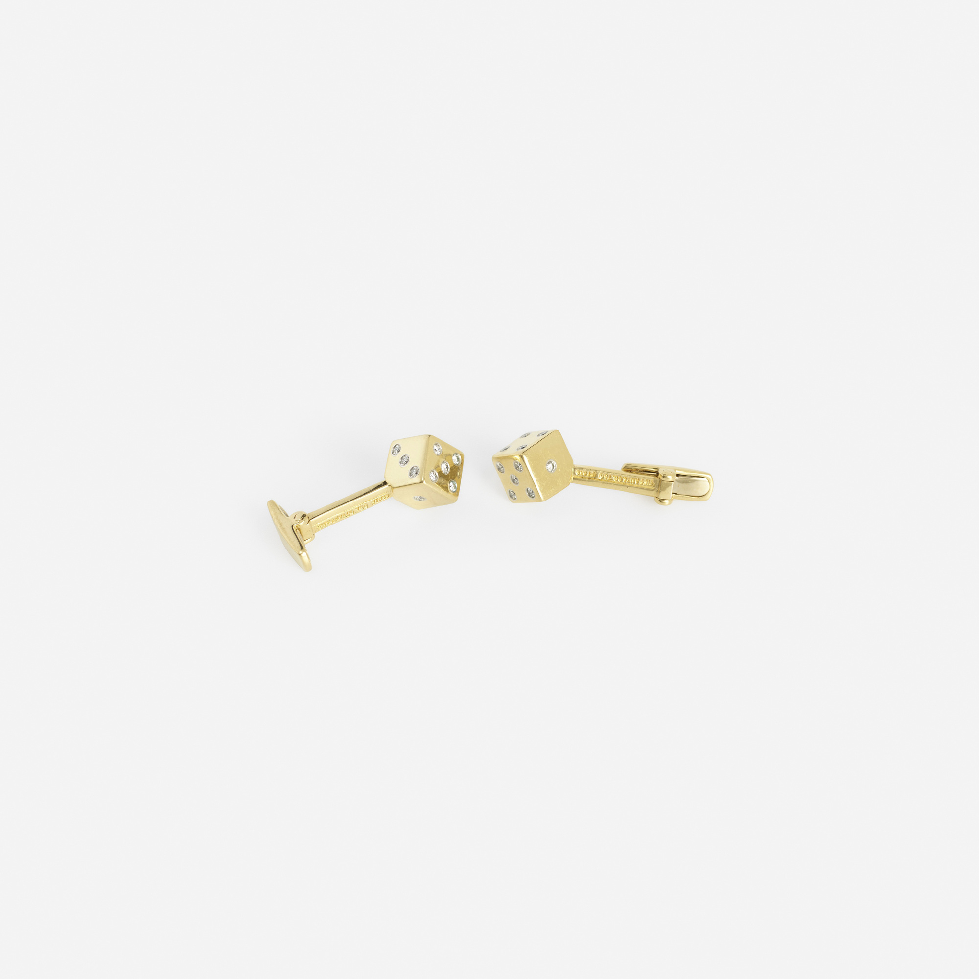 301: Tiffany & Co. / A pair of gold, platinum and diamond Dice cufflinks (2 of 2)