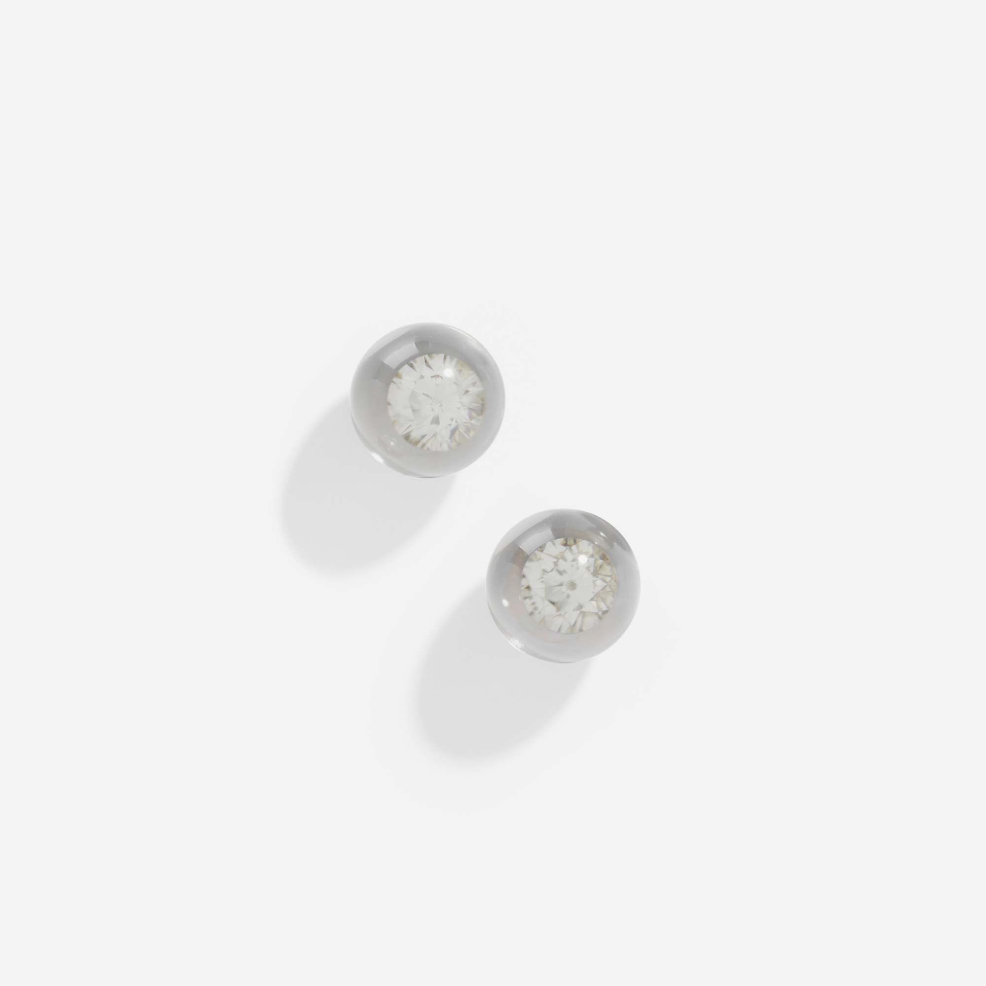 303: Mauboussin / A pair of gold, rock crystal and diamond earrings (1 of 1)