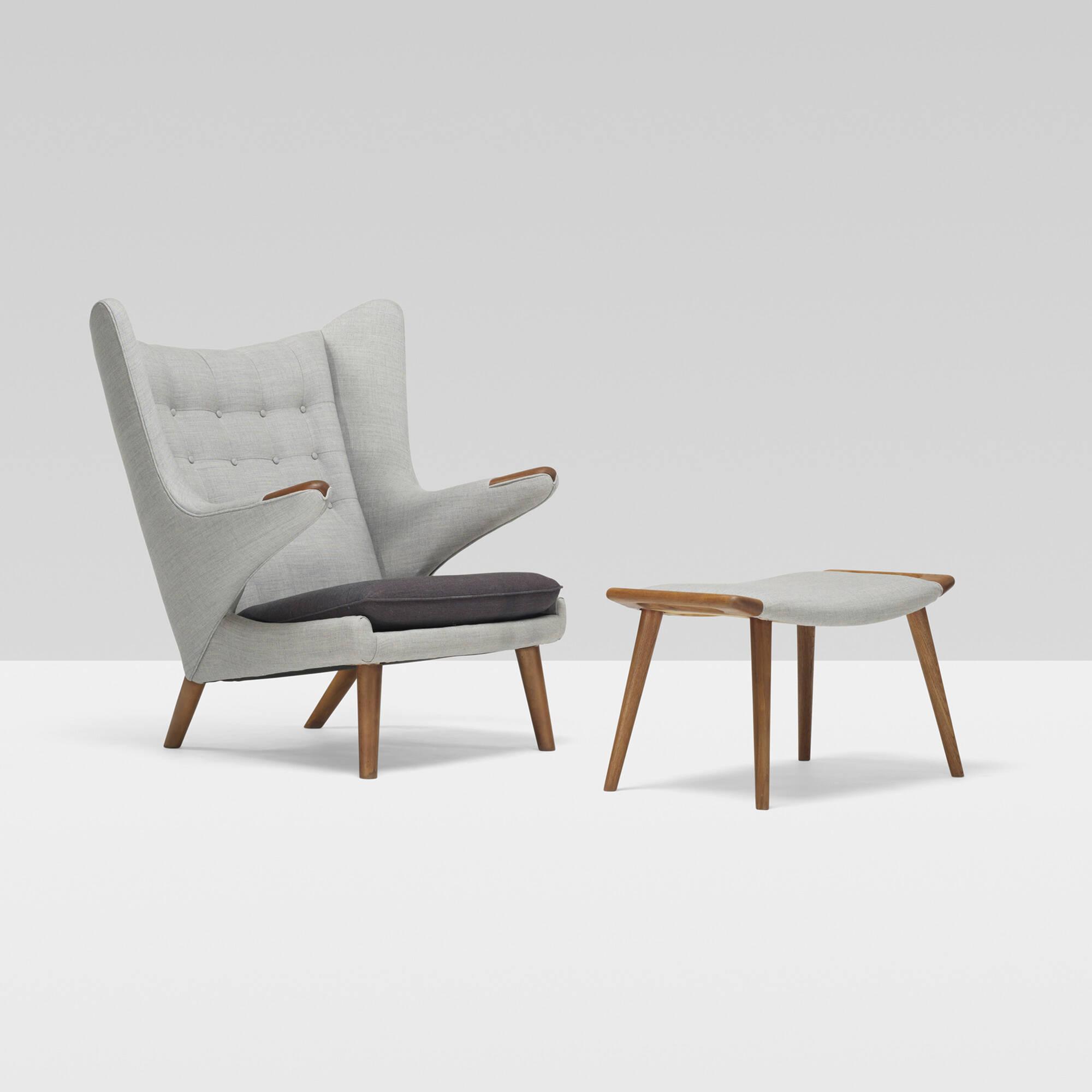 Merveilleux 306: Hans J. Wegner / Papa Bear Chair And Ottoman (1 Of 4