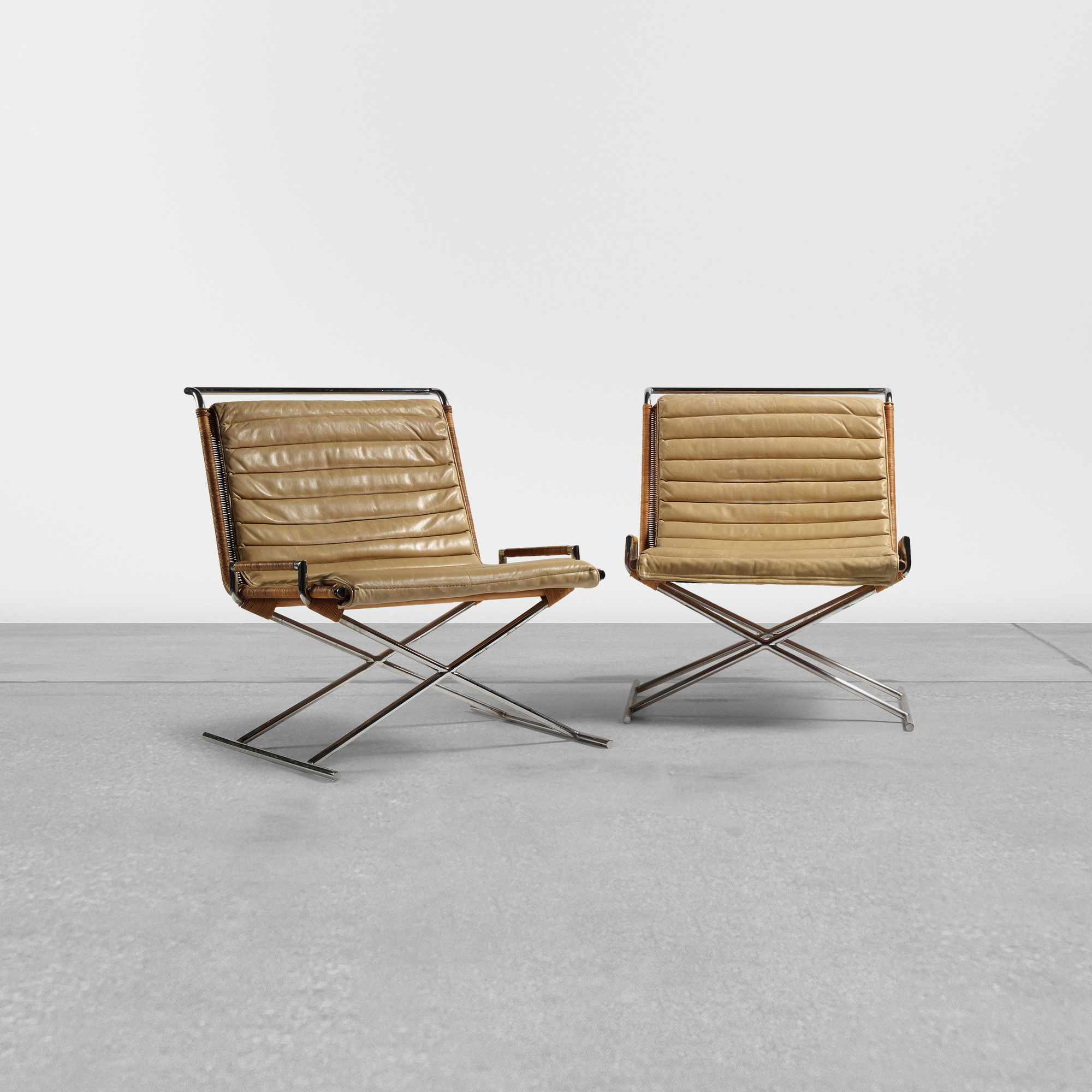311: Ward Bennett / Sled chairs, pair (1 of 2)