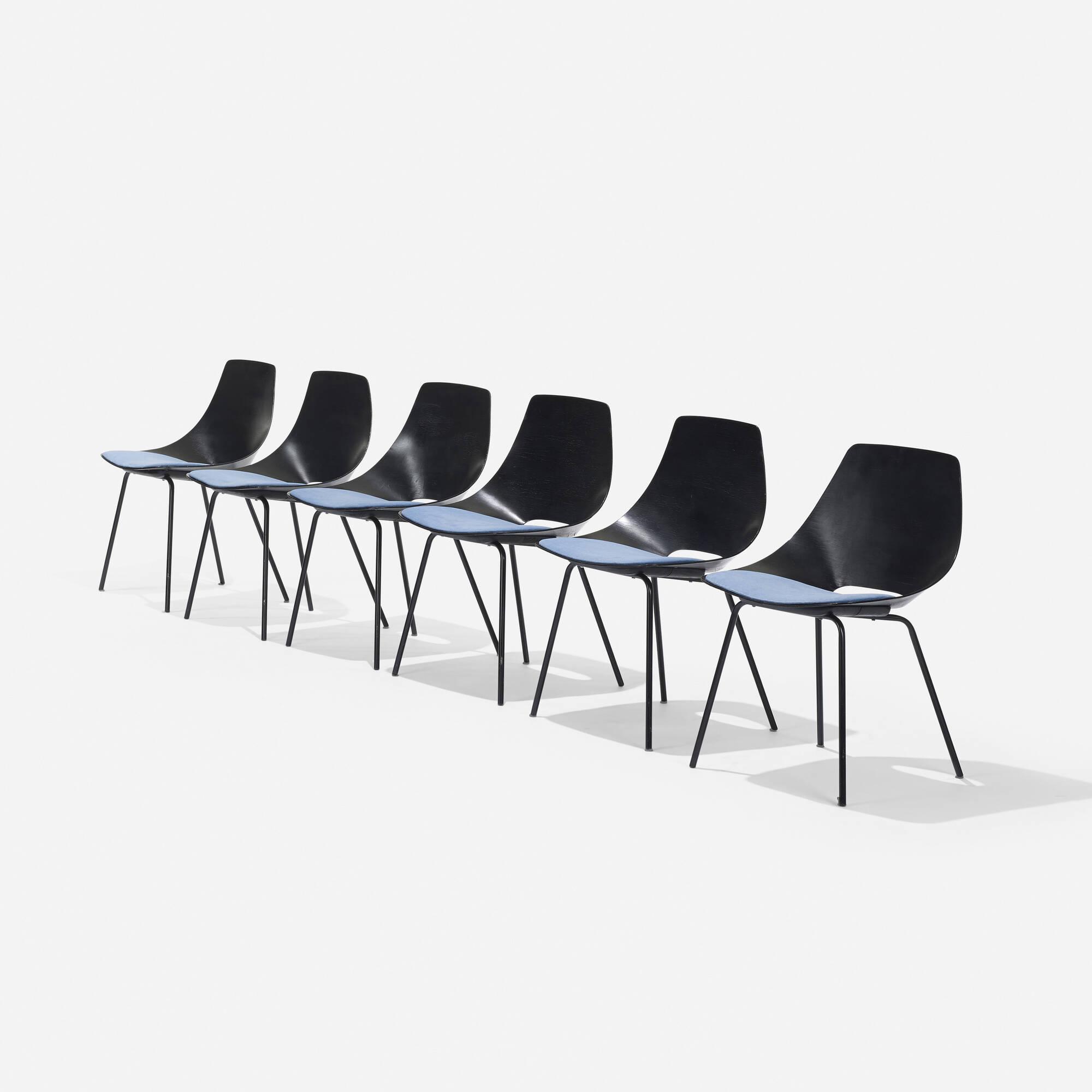 314: Pierre Guariche / Tonneau chairs, set of six (1 of 4)