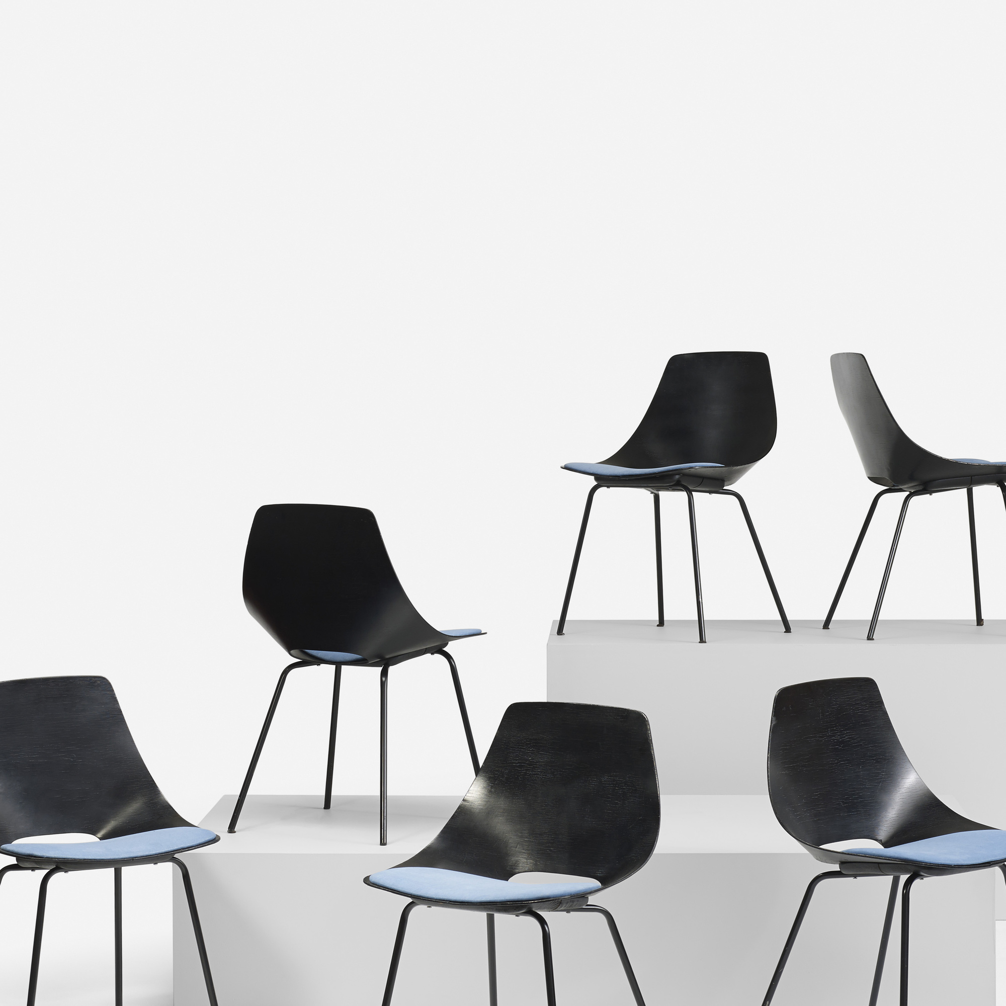 314: Pierre Guariche / Tonneau chairs, set of six (3 of 4)