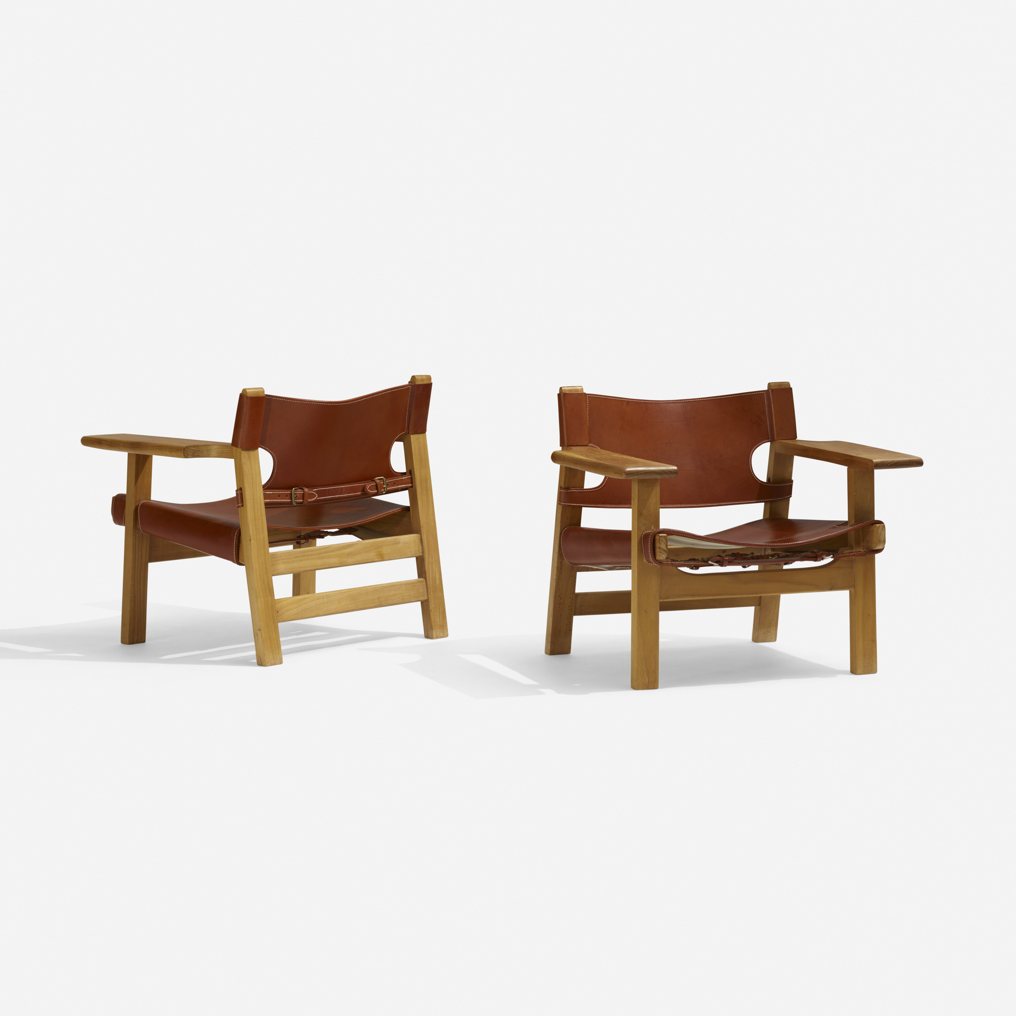 327: Børge Mogensen / Spanish chairs, pair (1 of 3)