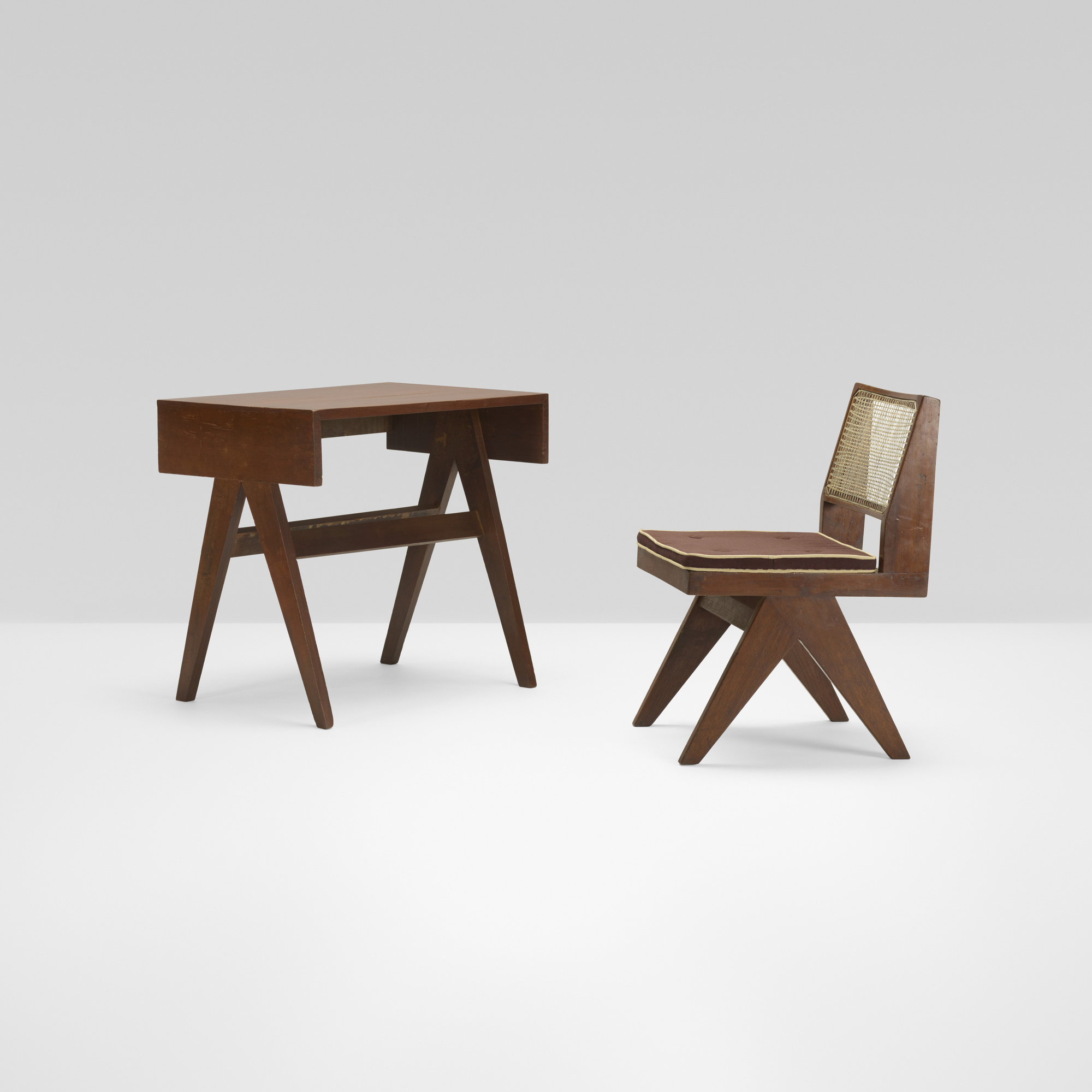 329 Pierre Jeanneret petit desk and chair from Chandigarh