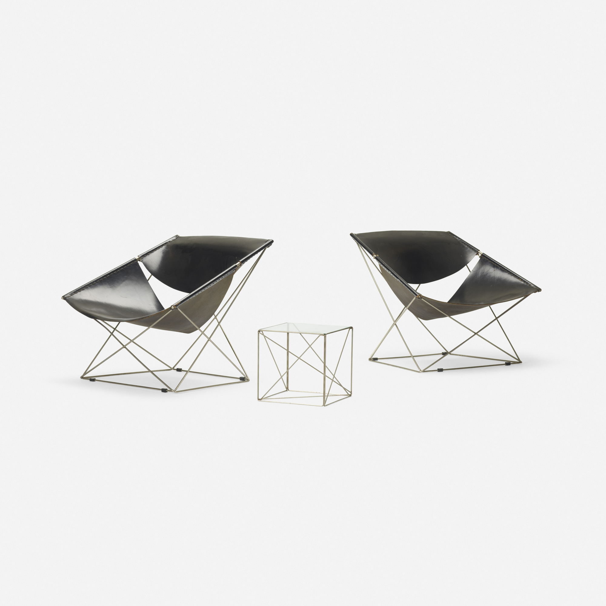 329 pierre paulin butterfly chairs model 675 pair with occasional