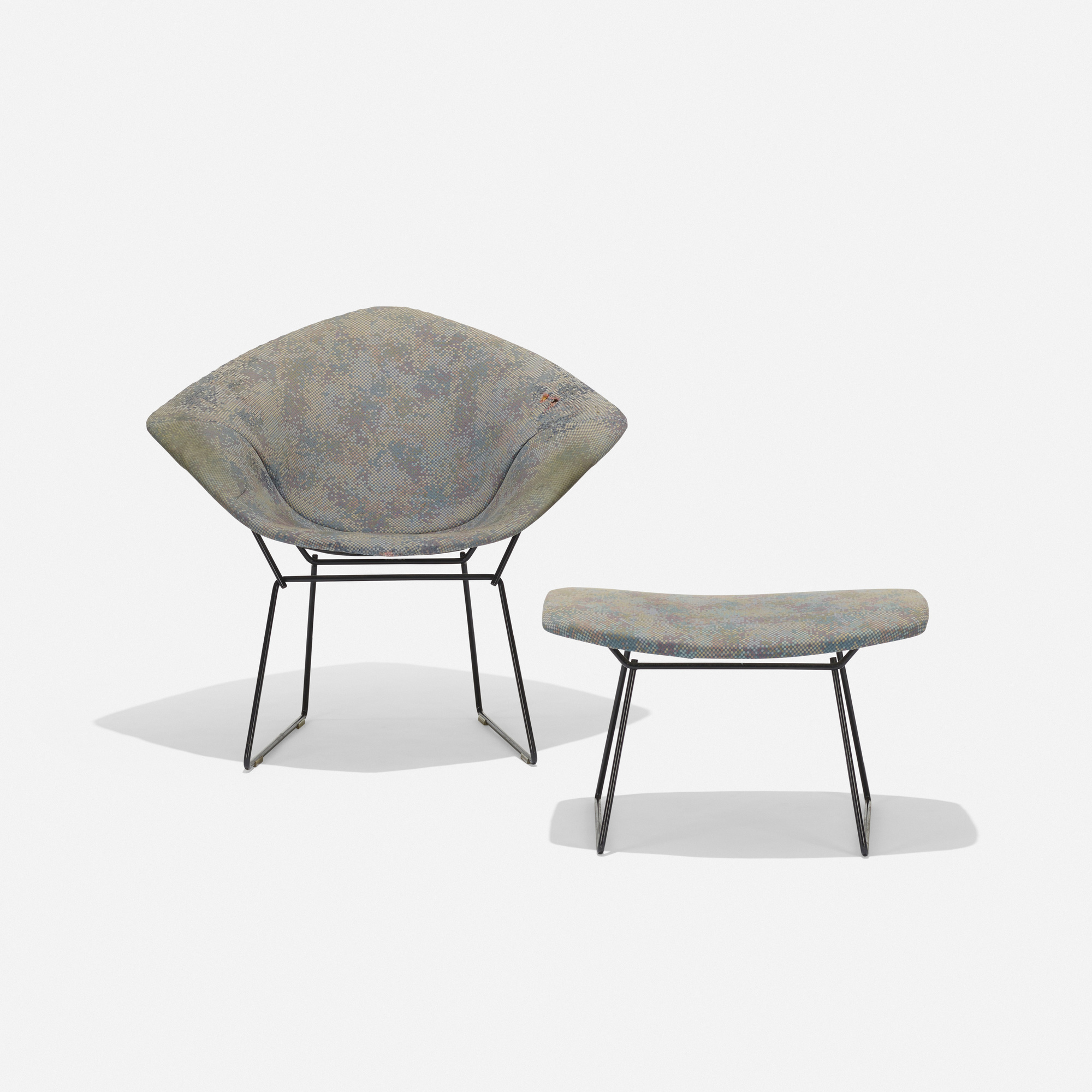 330 harry bertoia diamond chair and ottoman 2 of 3